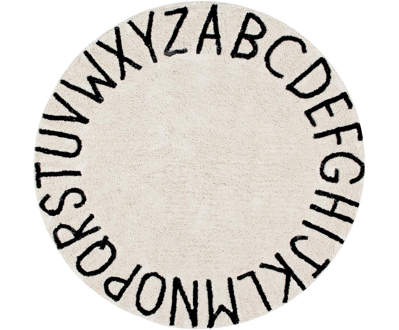 Tappeto rotondo ABC, Retro: cotone, Marrone chiaro, nero, Ø 150 cm (taglia M)