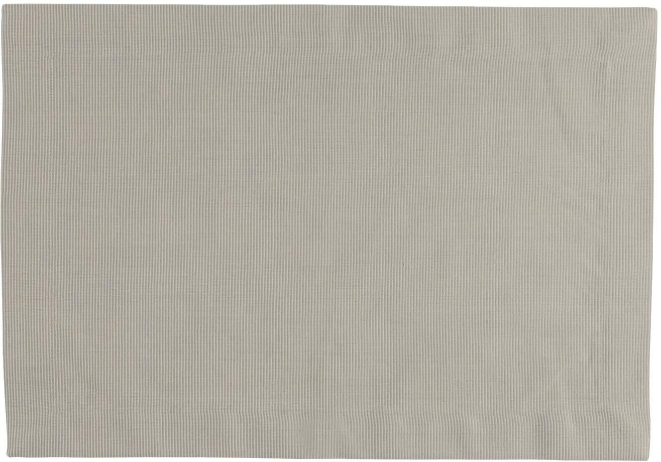 Manteles individuales Bombay, 6uds., Algodón, Gris verdoso, An 35 x L 50 cm