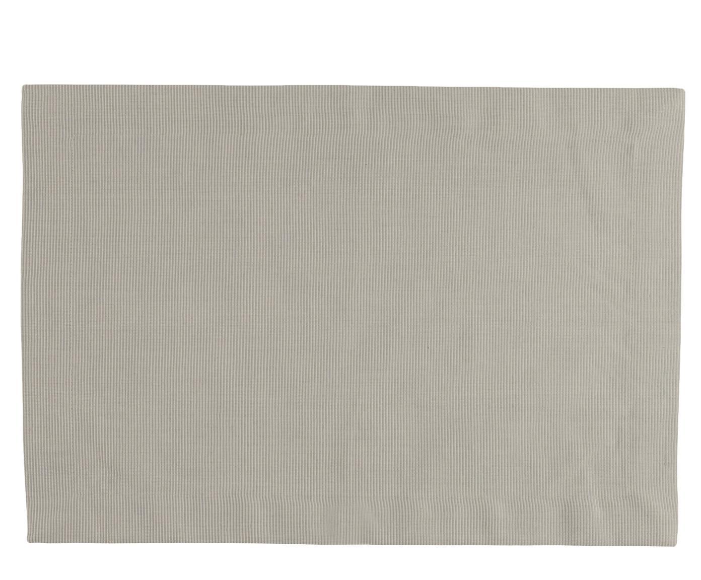 Tischsets Bombay, 6 Stück, Baumwolle, Graugrün, 35 x 50 cm