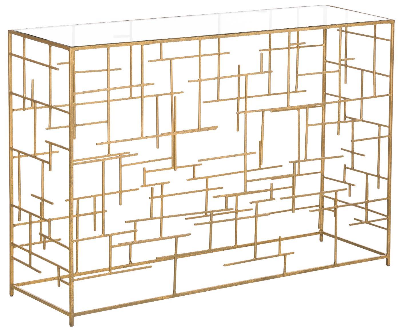 Konsola ze szkła i metalu Nola, Stelaż: metal powlekany, Odcienie złotego, S 120 x W 80 cm