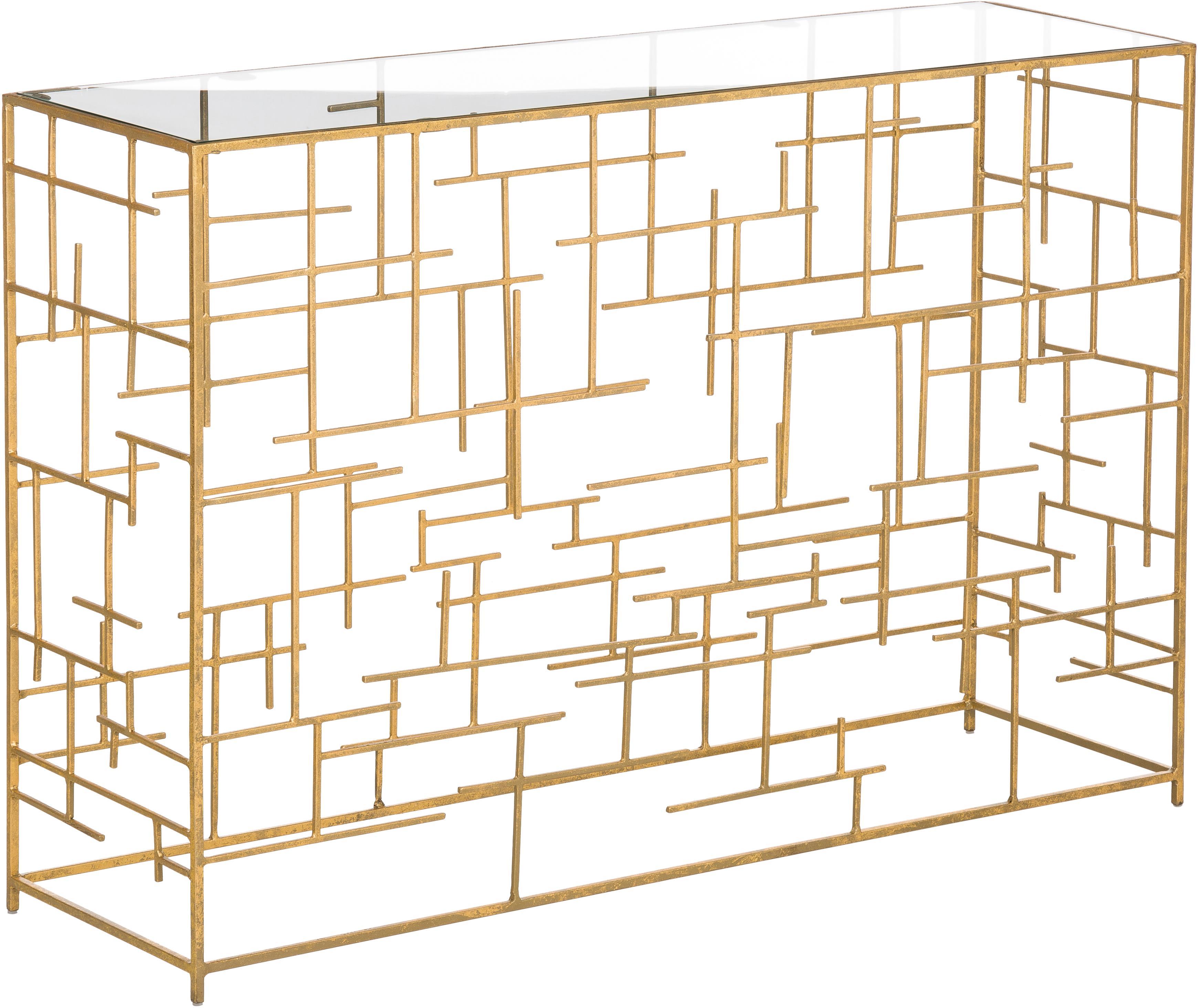 Consola de metal Nola, tablero de cristal, Estante: vidrio, Estructura: metal, recubierto, Dorado, An 120 x Al 80 cm