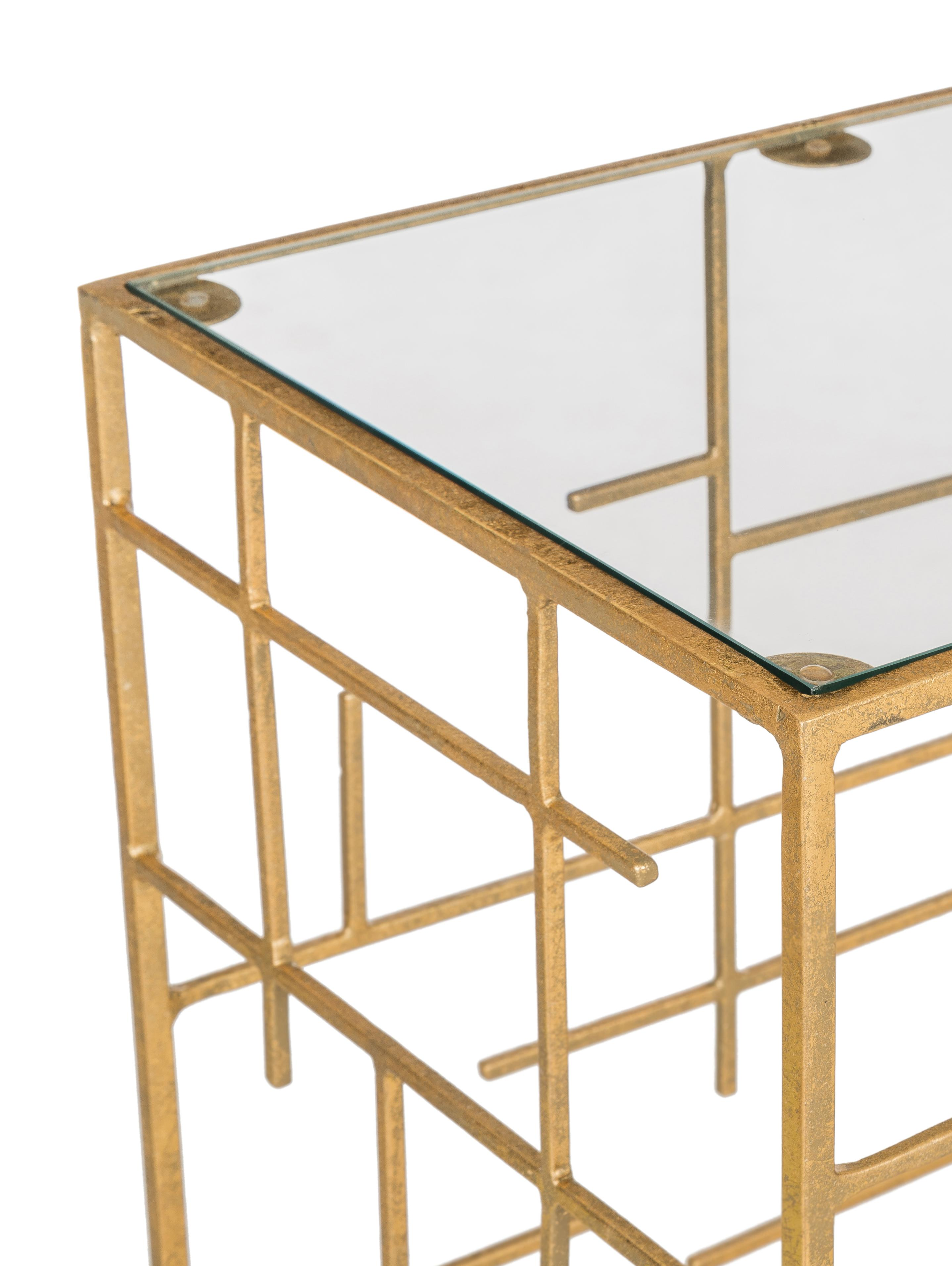 Consolle in vetro e metallo dorato Nola, Mensola: vetro, Struttura: metallo rivestito, Dorato, Larg. 120 x Prof. 35 cm
