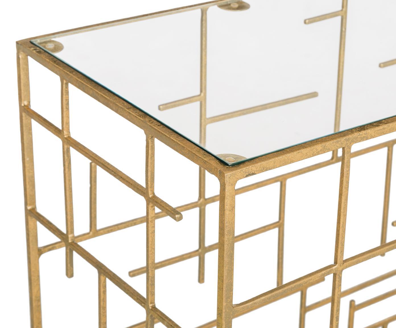 Sidetable Nola van glas en goudkleurig metaal, Tafelblad: glas, Frame: gecoat metaal, Goudkleurig, 120 x 80 cm