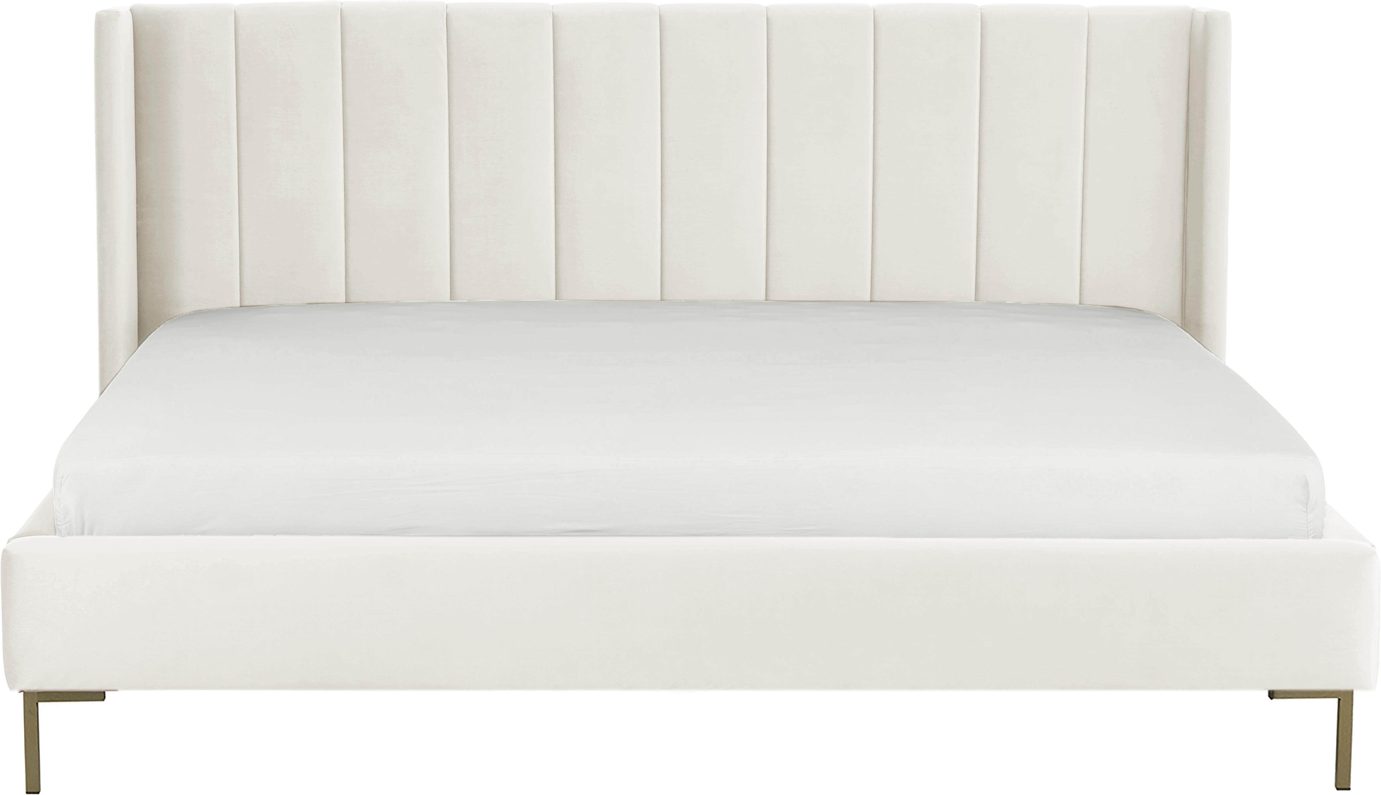 Łóżko tapicerowane z aksamitu Dusk, Korpus: lite drewno sosnowe, Nogi: metal malowany proszkowo, Tapicerka: aksamit poliestrowy 3500, Beżowy, 180 x 200 cm