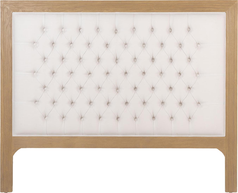 Cabecero acolchado Milano, Madera de roble, algodón, Crema, beige, An 190 x Al 130 cm