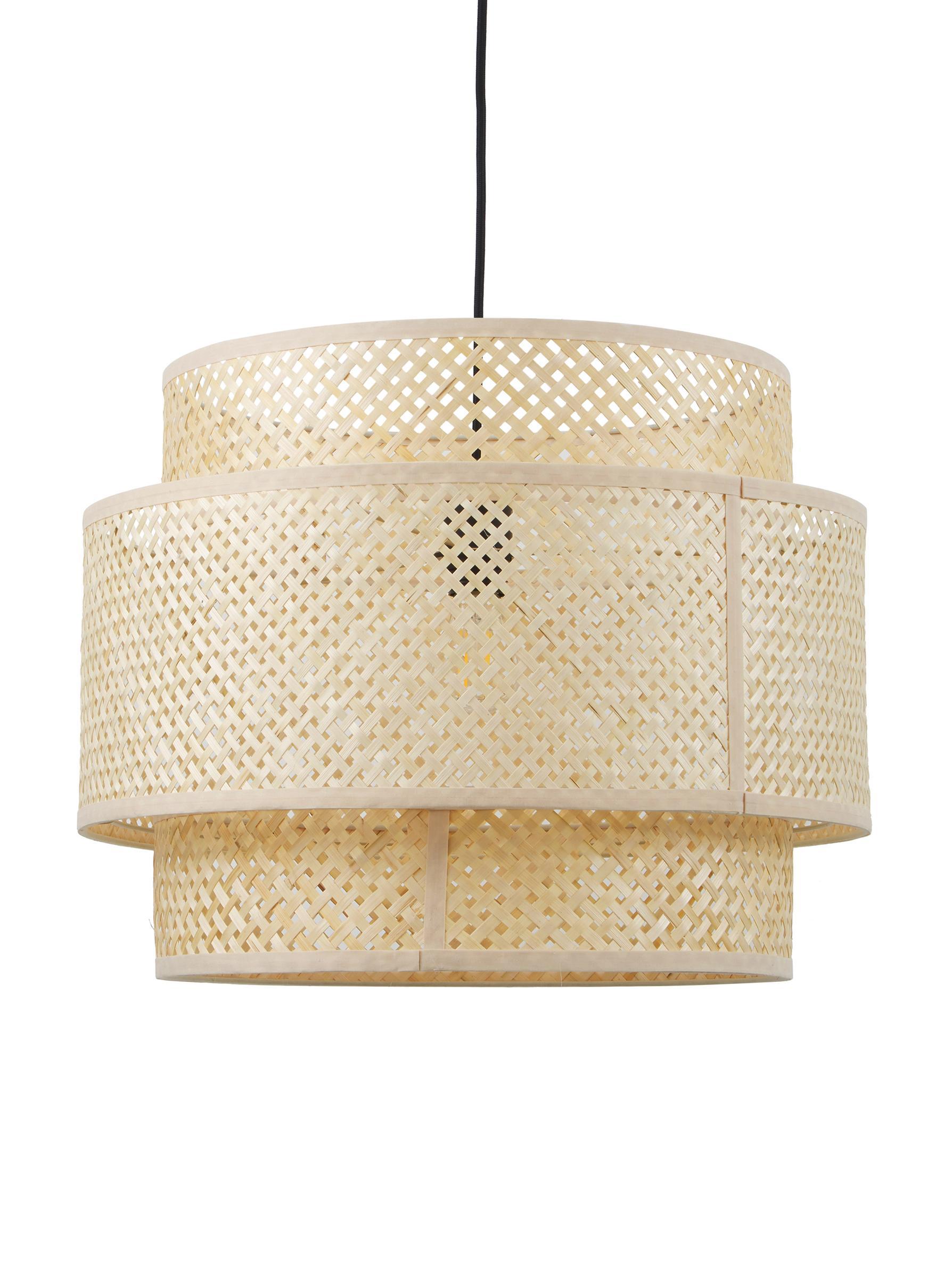 Handgemaakte hanglamp Eve van bamboehout, Lampenkap: bamboe, Baldakijn: gepoedercoat metaal, Beige, Ø 50 x H 40 cm