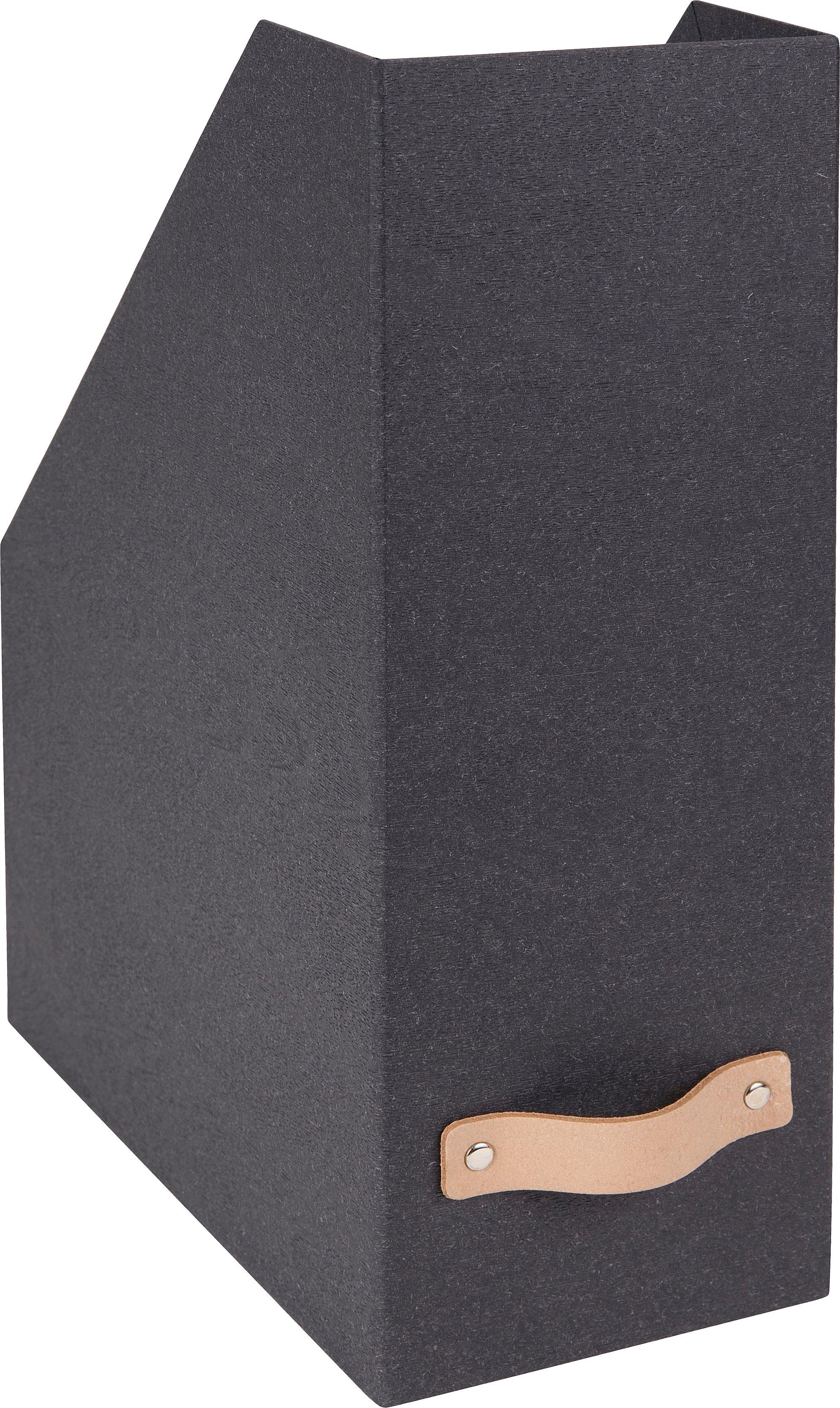 Stehsammler Estelle, Organizer: Fester Karton, mit Holzde, Griff: Leder, Organizer: Schwarz Griff: Beige, 12 x 32 cm