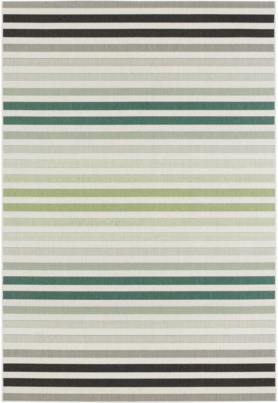 Gestreept in- en outdoor vloerkleed Paros, Polypropyleen, Groen, beige, antraciet, B 160 x L 230 cm (maat M)