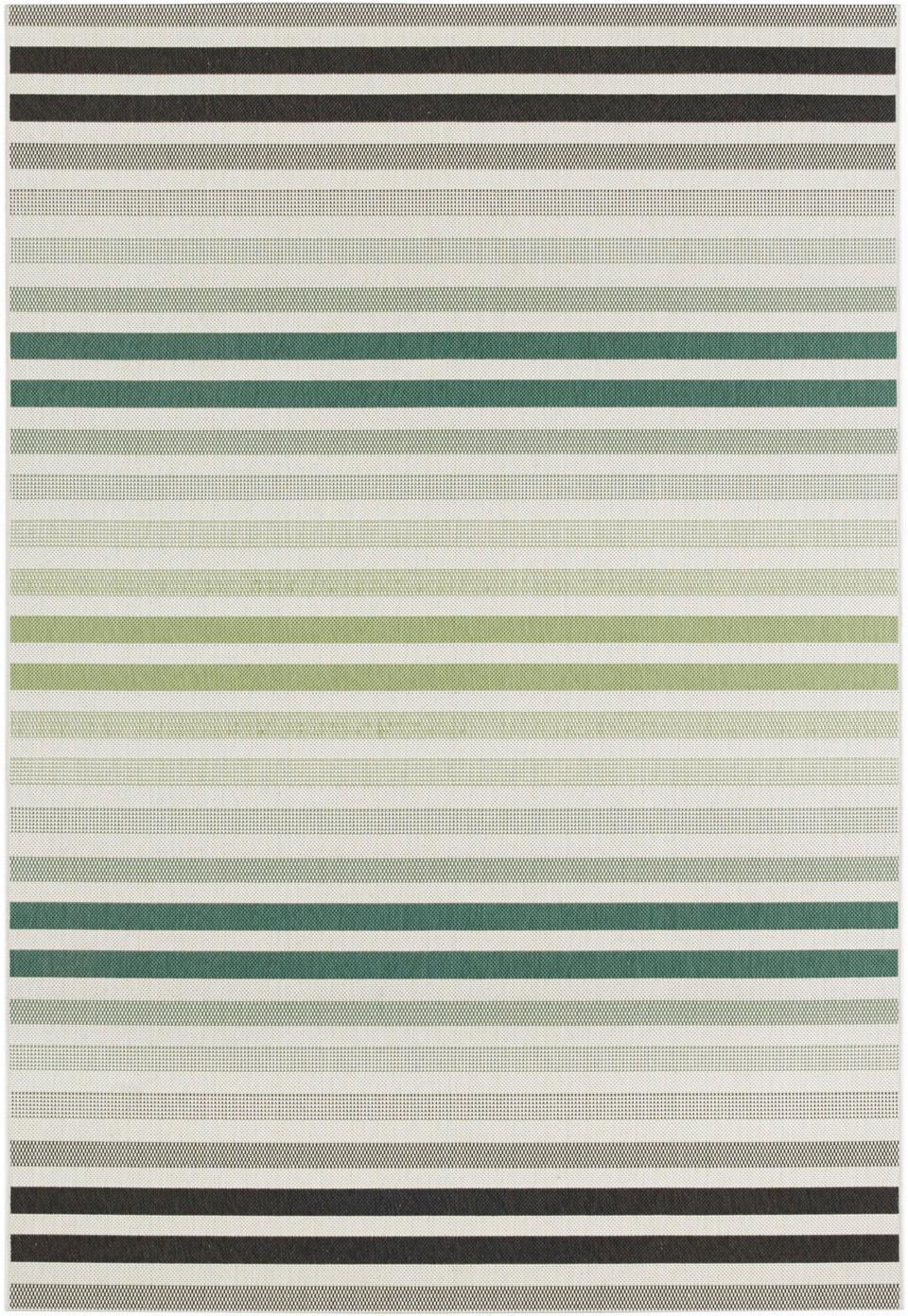 Gestreept in- en outdoor vloerkleed Paros, 100% polypropyleen, Groen, beige, antraciet, B 160 x L 230 cm (maat M)