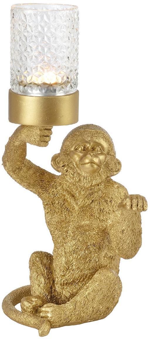 Teelichthalter Monkey, Kunststoff, Goldfarben, 16 x 30 cm