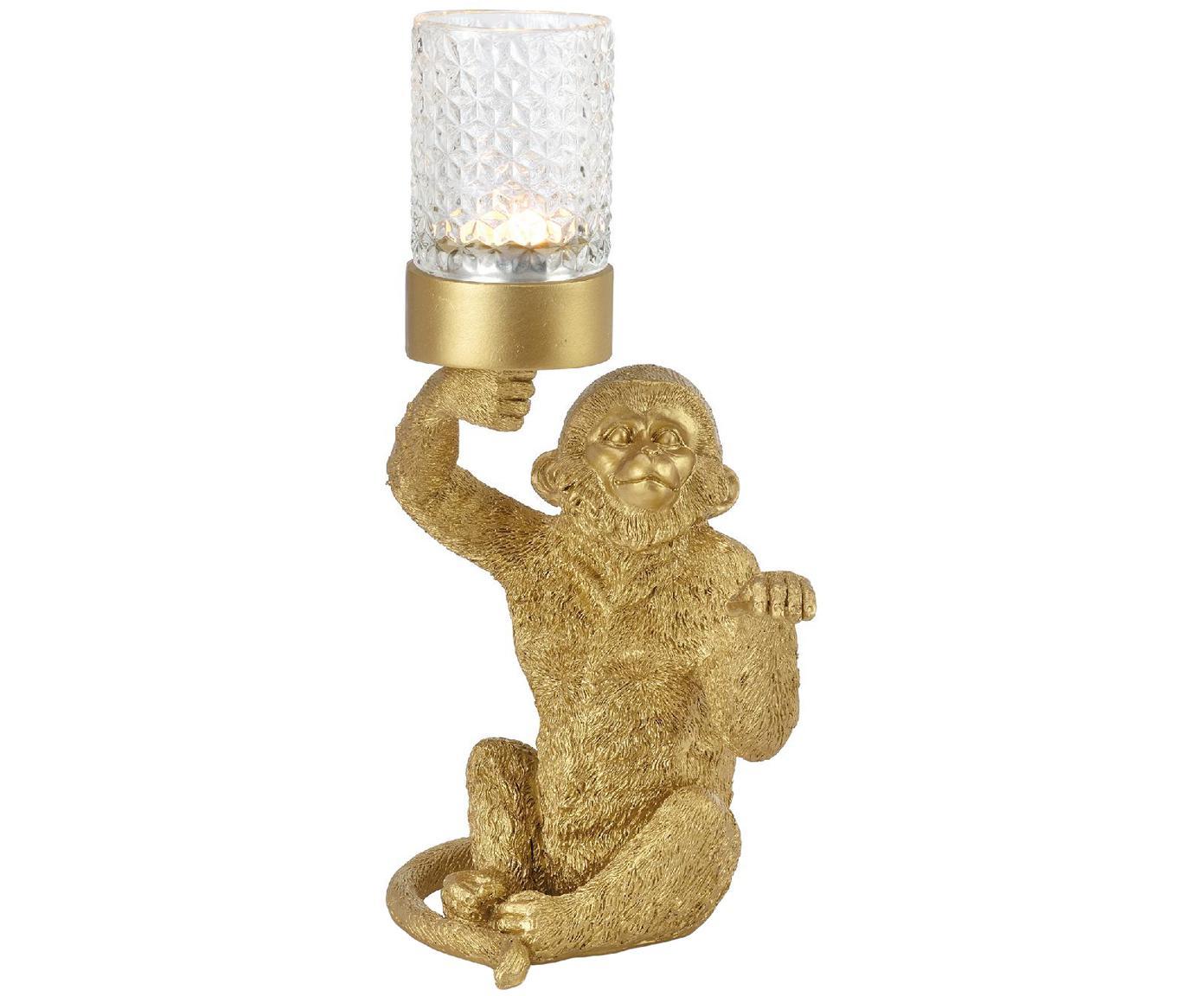 Portalumini Monkey, Materiale sintetico, Dorato, Larg. 16 x Alt. 30 cm