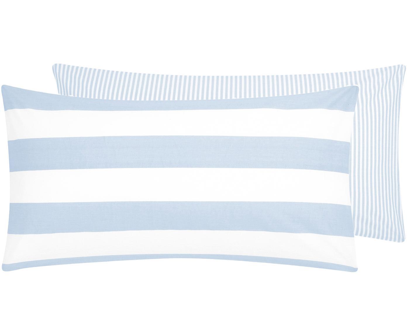 Funda de almohada de tejido renforcé Lorena, caras distintas, Azul claro, blanco crema, An 45 x L 85 cm