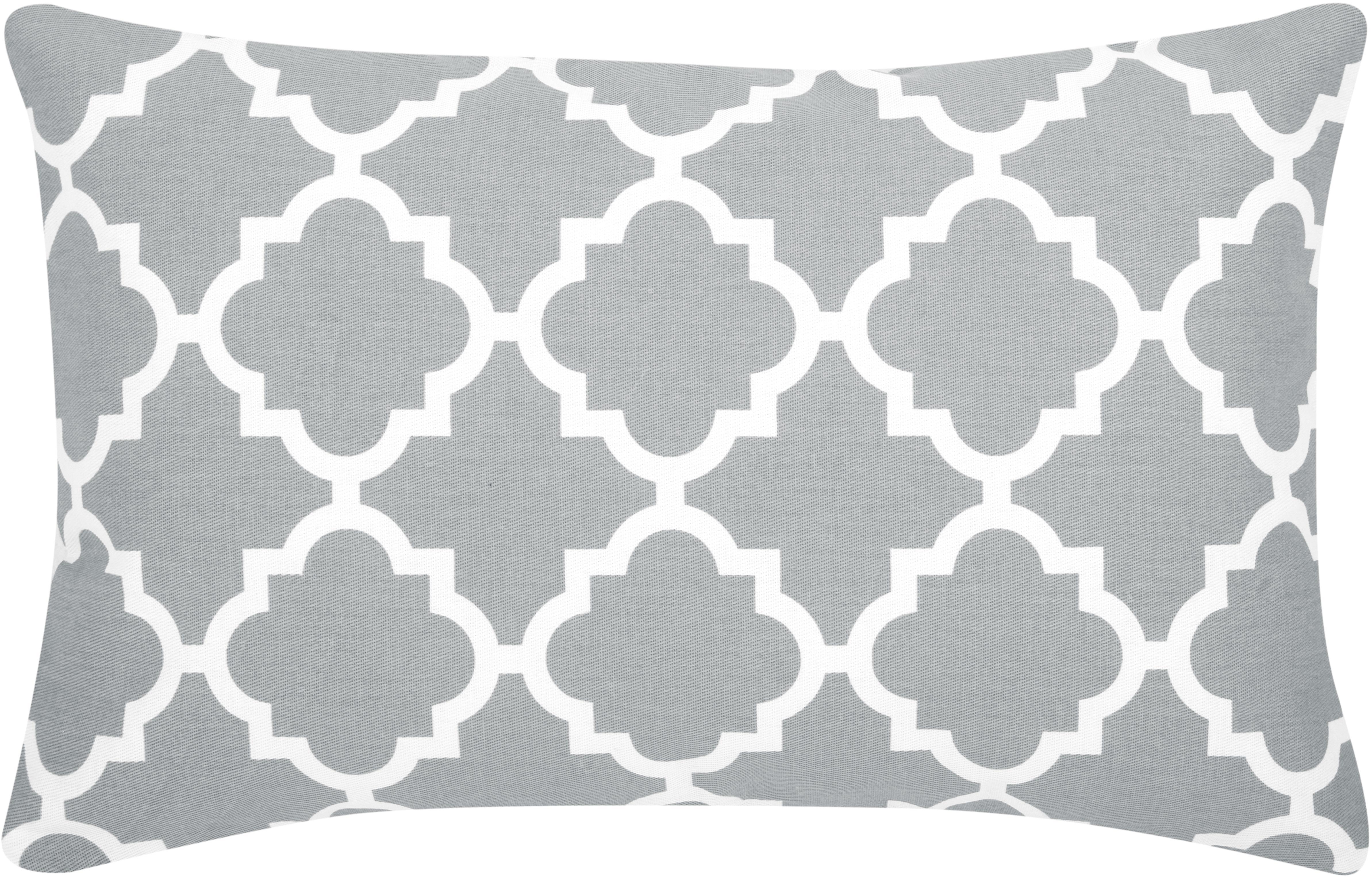 Kissenhülle Lana mit grafischem Muster, 100% Baumwolle, Grau, Weiß, 30 x 50 cm