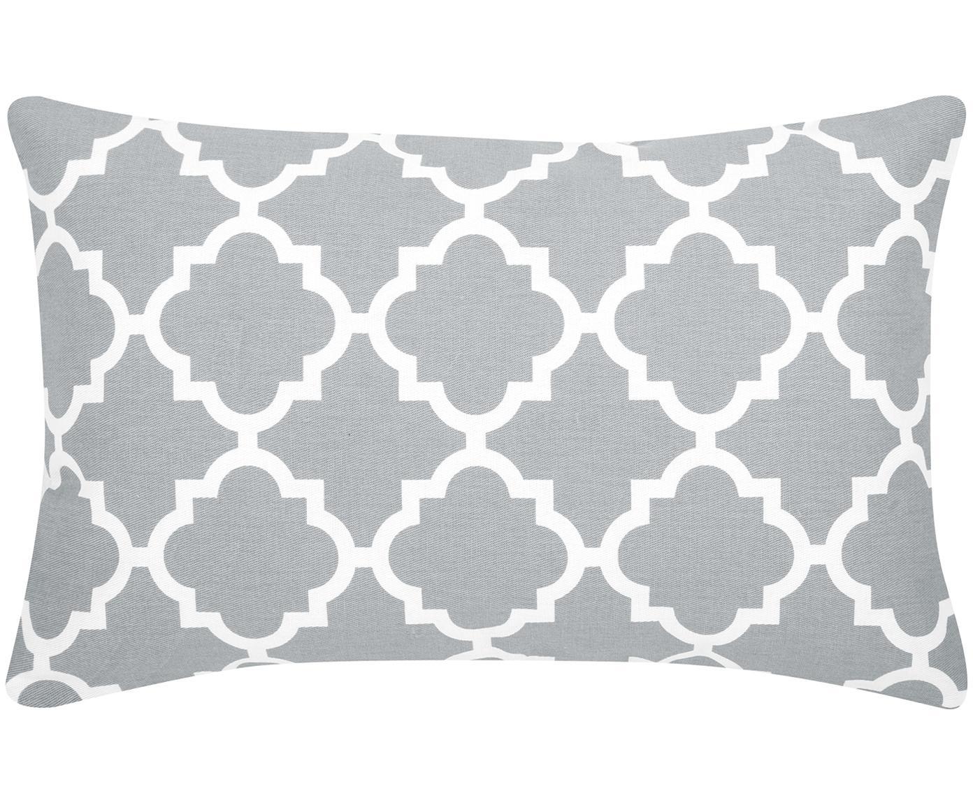 Kussenhoes Lana, 100% katoen, Grijs, wit, 30 x 50 cm