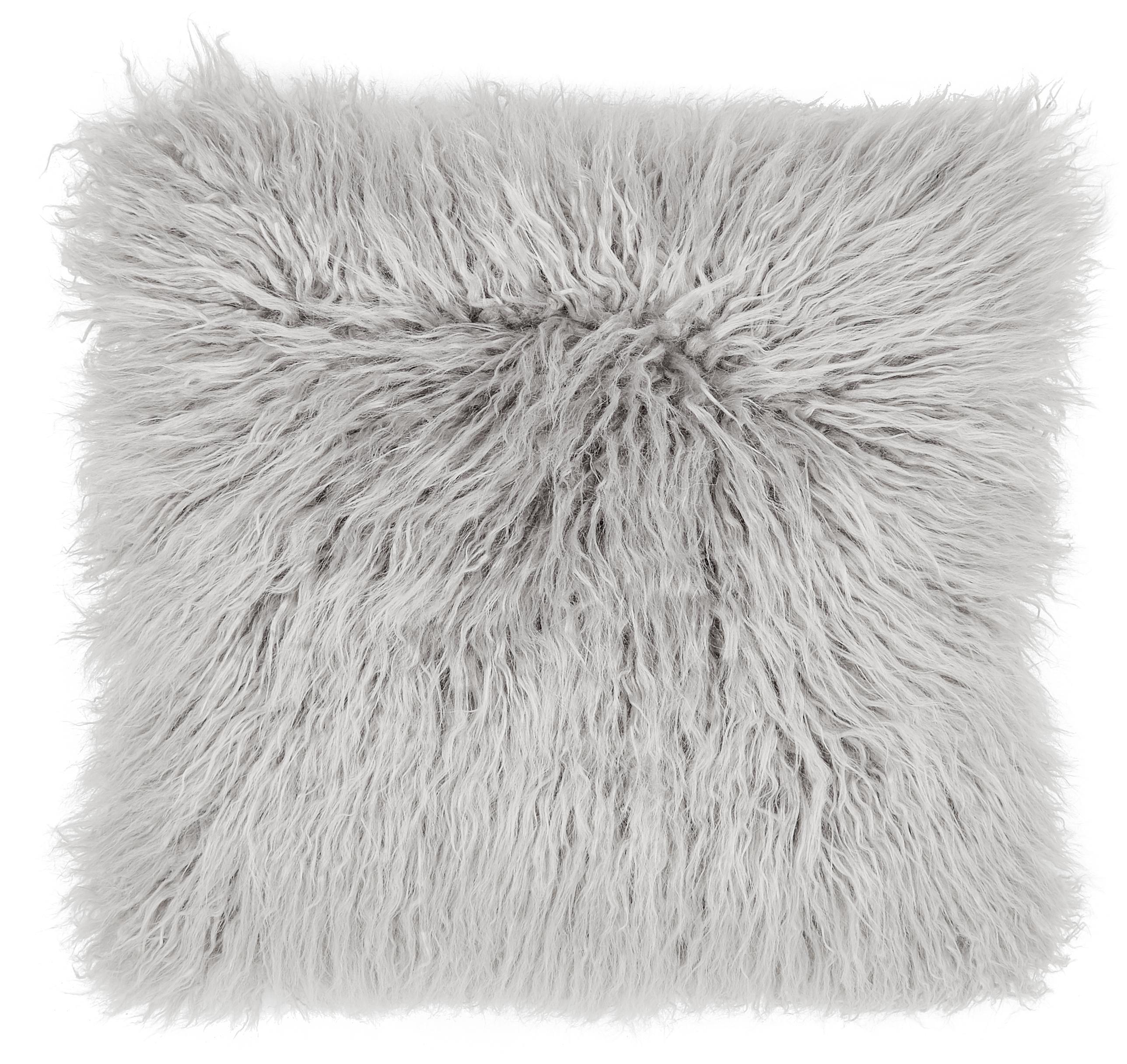 Federa arredo in soffice pelliccia sintetica Morten, Retro: 100% poliestere, Grigio chiaro, Larg. 40 x Lung. 40 cm