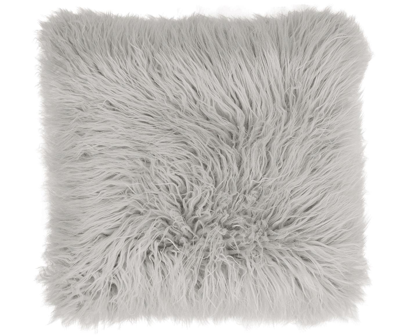 Flauschige Kunstfell-Kissenhülle Morten, gelockt, Vorderseite: 67% Akryl, 33% Polyester, Rückseite: 100% Polyester, Hellgrau, 40 x 40 cm