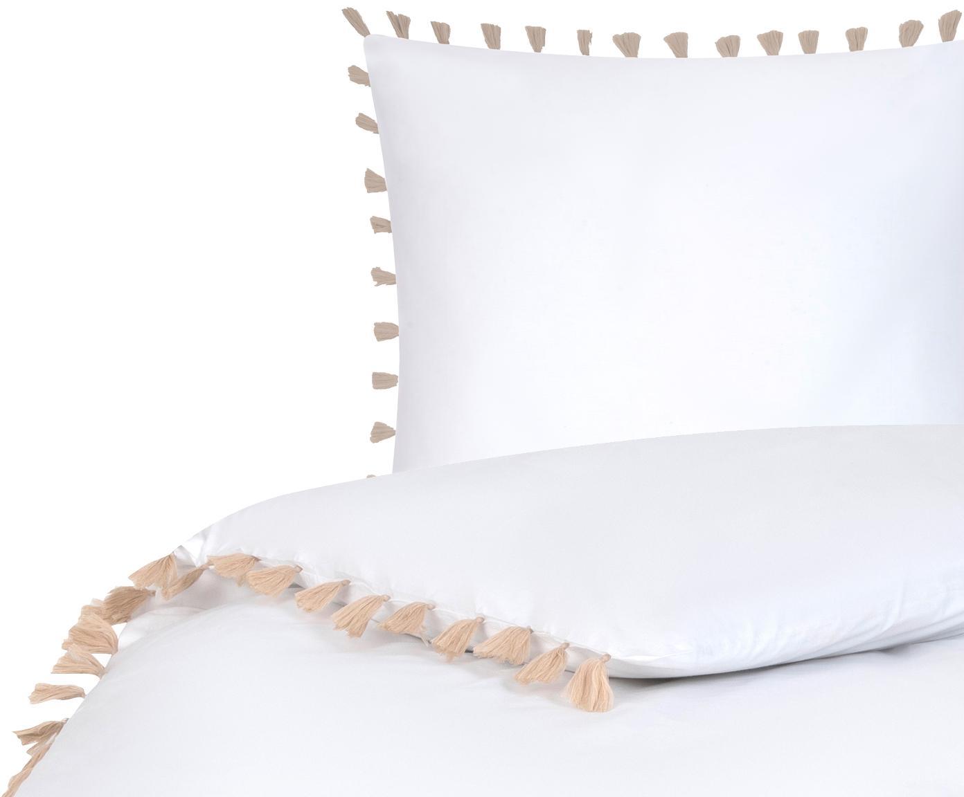 Baumwollperkal-Bettwäsche Quo mit Quasten, Webart: Perkal Fadendichte 200 TC, Weiß, Beige, 135 x 200 cm + 1 Kissen 80 x 80 cm