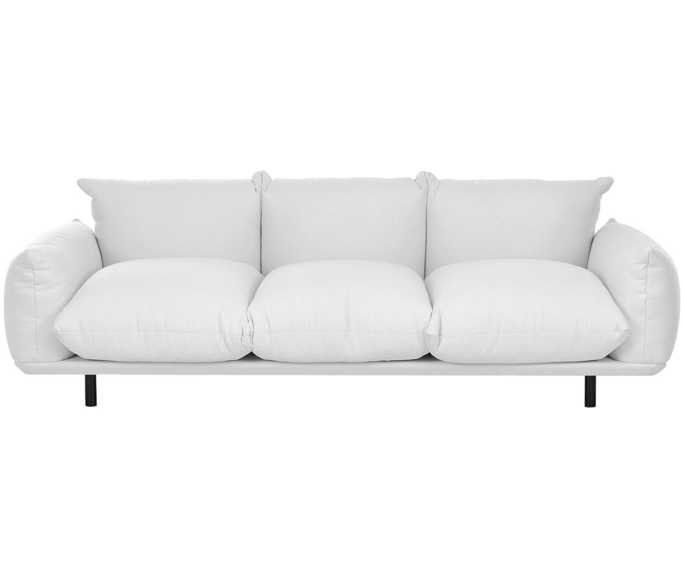 Bank Saga (4-zits), Bekleding: 100% polyester, Frame: massief berkenhout, Poten: gepoedercoat metaal, Lichtgrijs, B 232 x D 103 cm