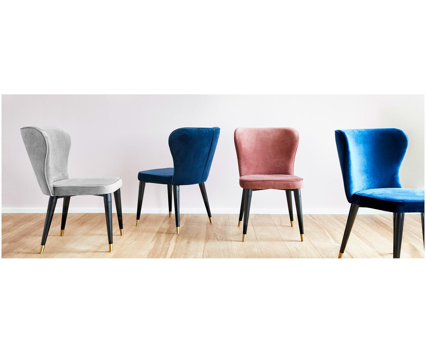 Krzesło tapicerowane z aksamitu Cleo, Tapicerka: aksamit (poliester) 5000, Nogi: metal lakierowany, Aksamitny szary, S 51 x G 62 cm