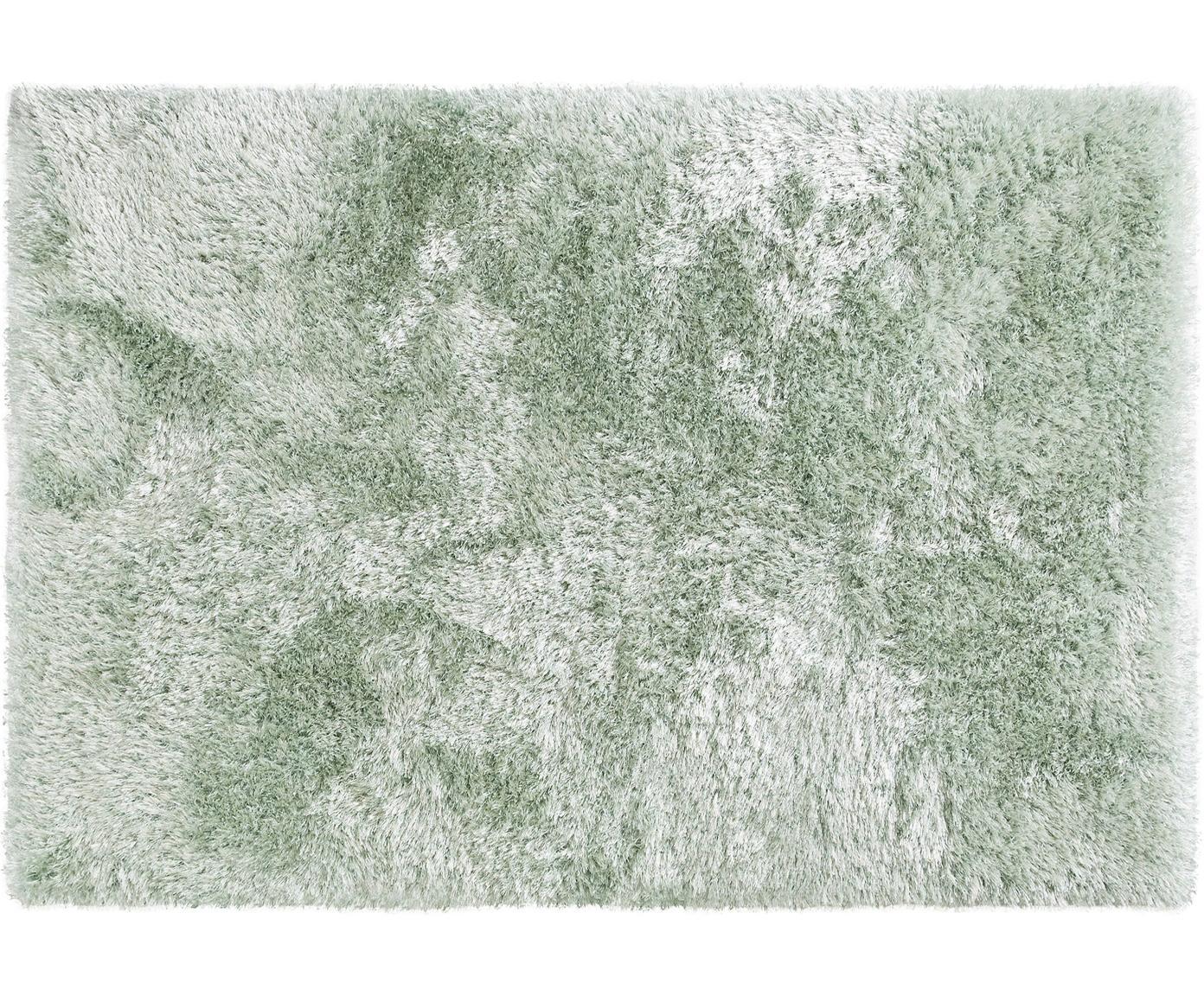 Glanzend hoogpolig vloerkleed Lea, 50% polyester, 50% polypropyleen, Groen, B 140 x L 200 cm (maat S)