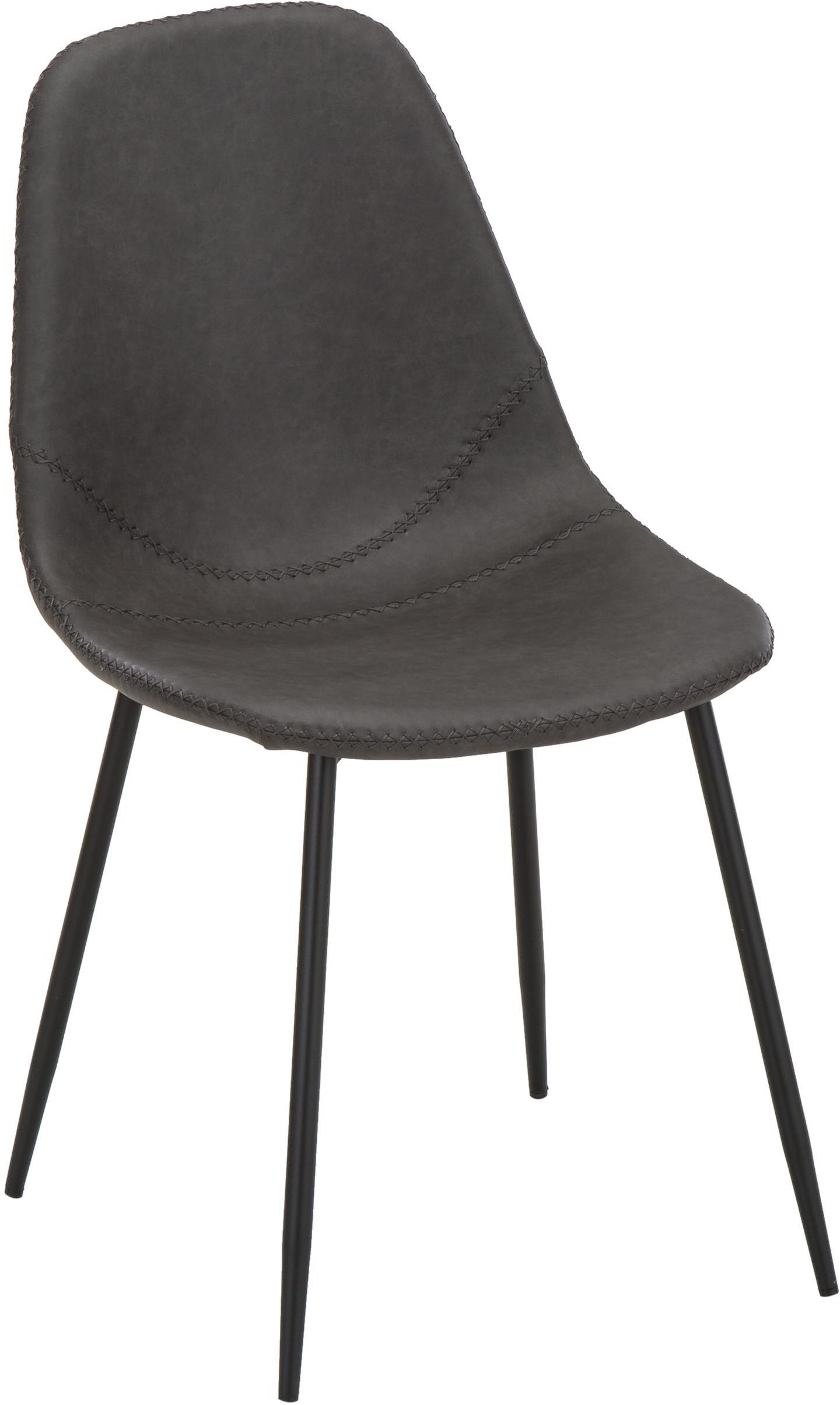 Kunstleren stoelen Linus, 2 stuks, Bekleding: kunstleer (65% polyethyle, Poten: gepoedercoat metaal, Donkergrijs, B 41 x D 53 cm