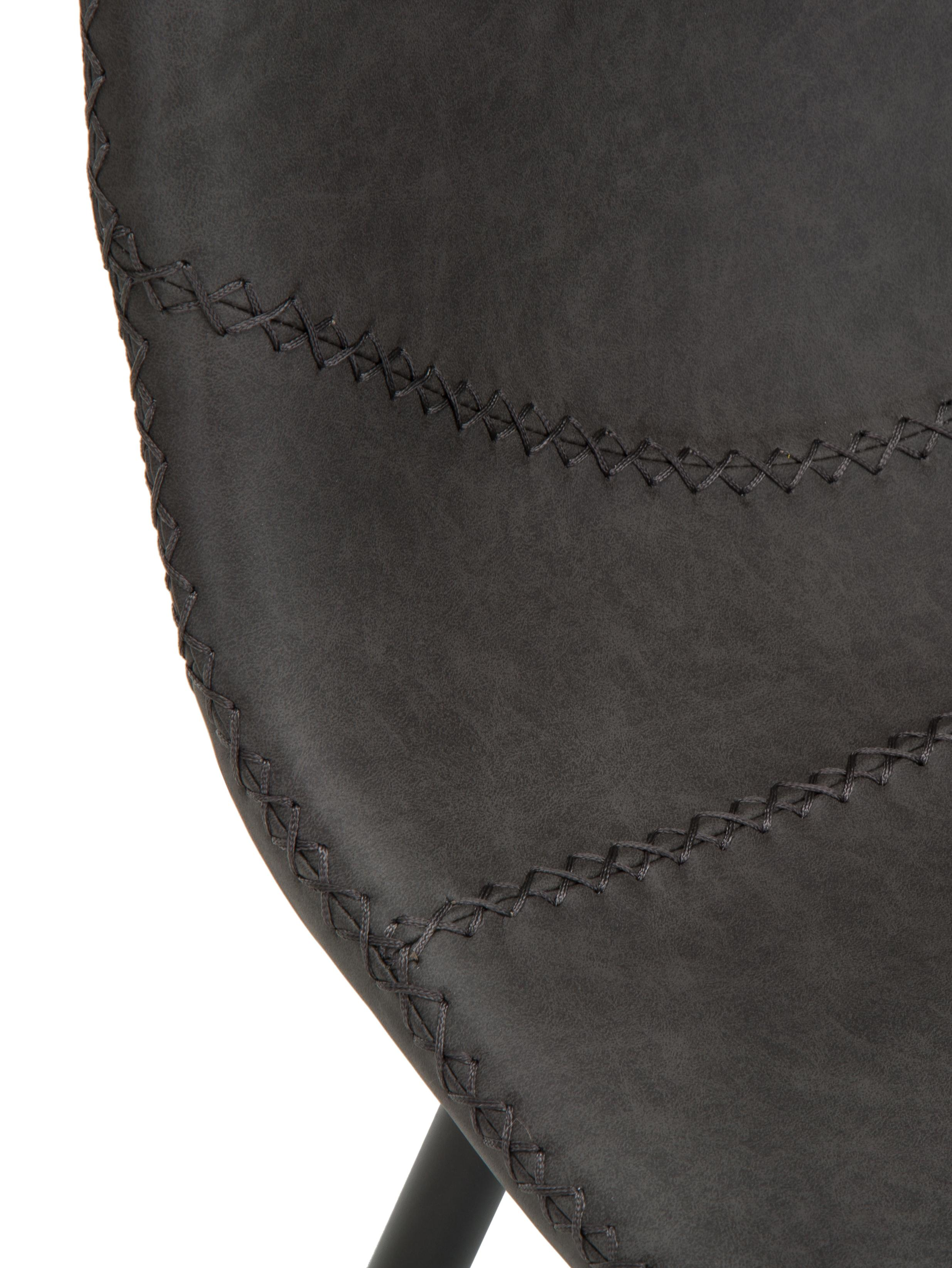 Sillas tapizadas en cuero sintético Linus, 2uds., Tapizado: cuero sintético (65%poli, Patas: metal, pintura en polvo, Gris oscuro, negro, An 41 x F 53 cm