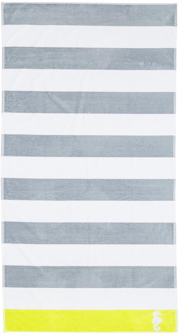 Strandtuch Seahorse Albatros, Grau, Weiss, Limettengrün, 100 x 180 cm