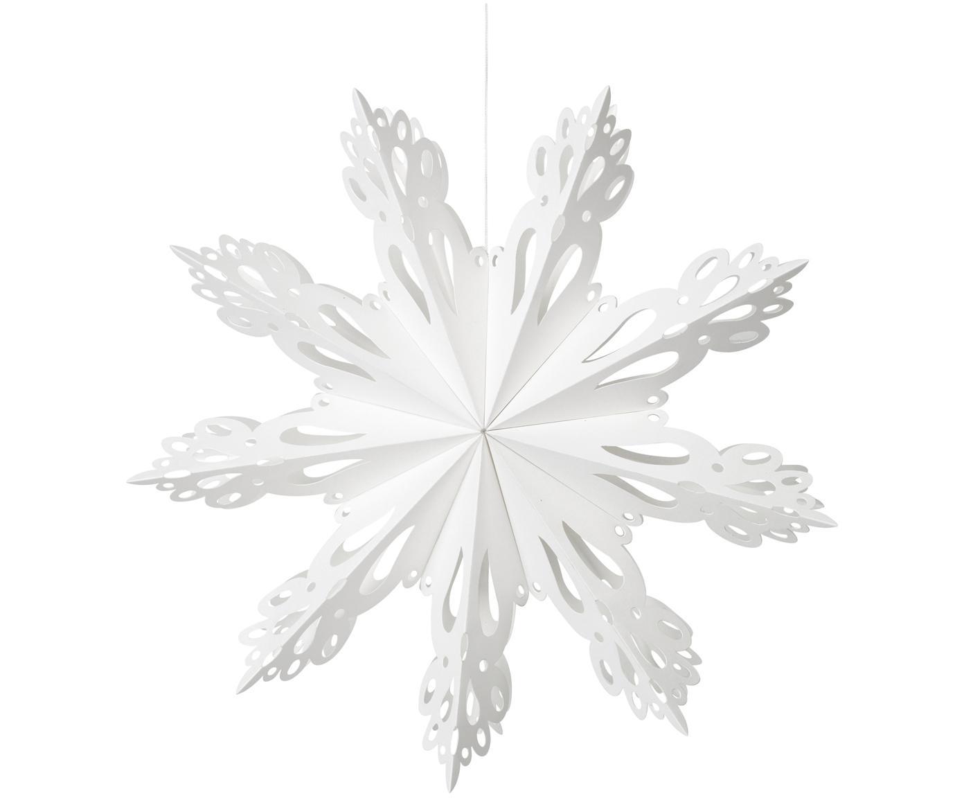 Ciondolo XL Snowflake, Carta, Bianco, Ø 30 cm