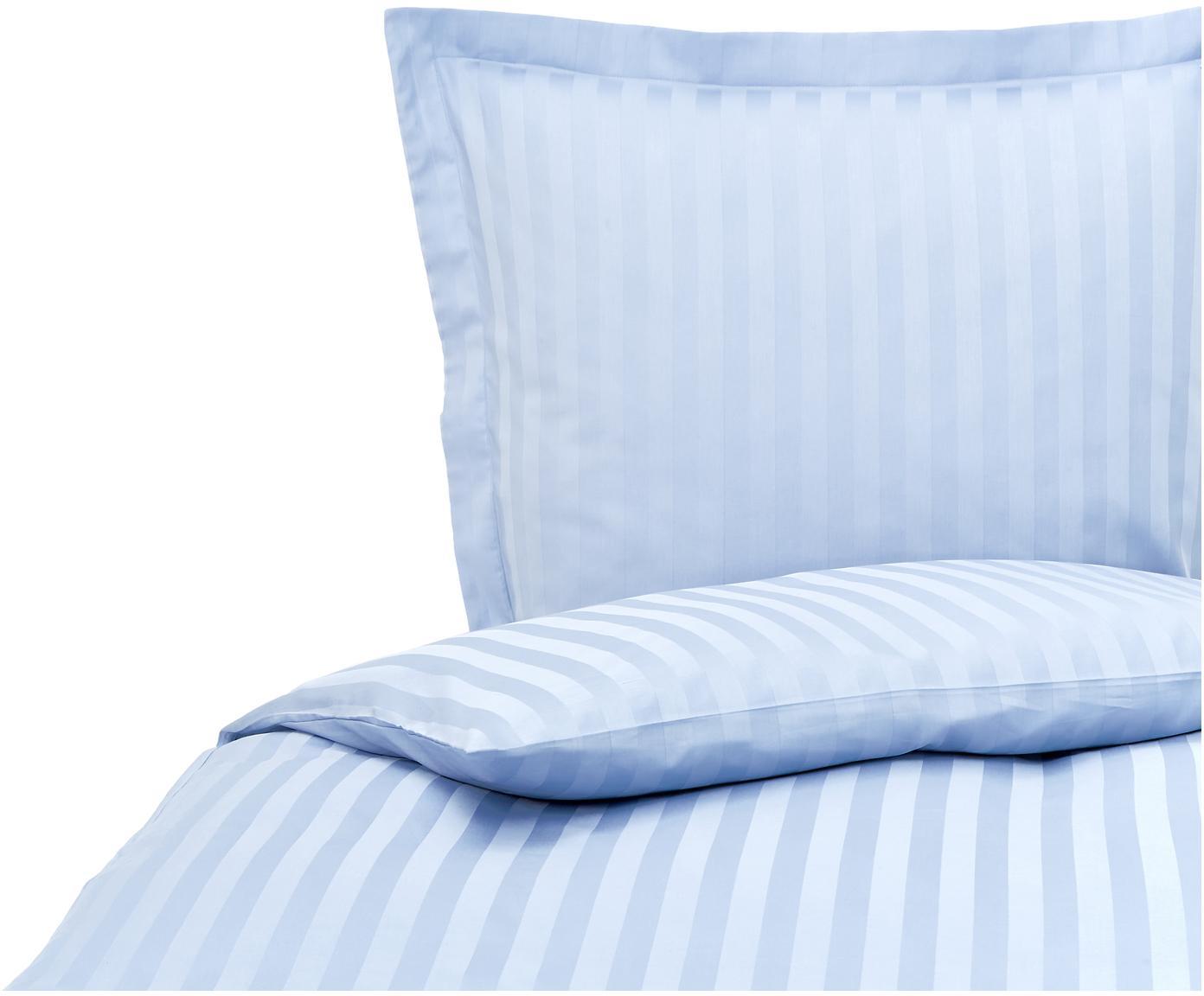 Satinstreifen-Bettwäsche Linea in Hellblau, Webart: Satin Baumwollsatin wird , Hellblau, 135 x 200 cm + 1 Kissen 80 x 80 cm