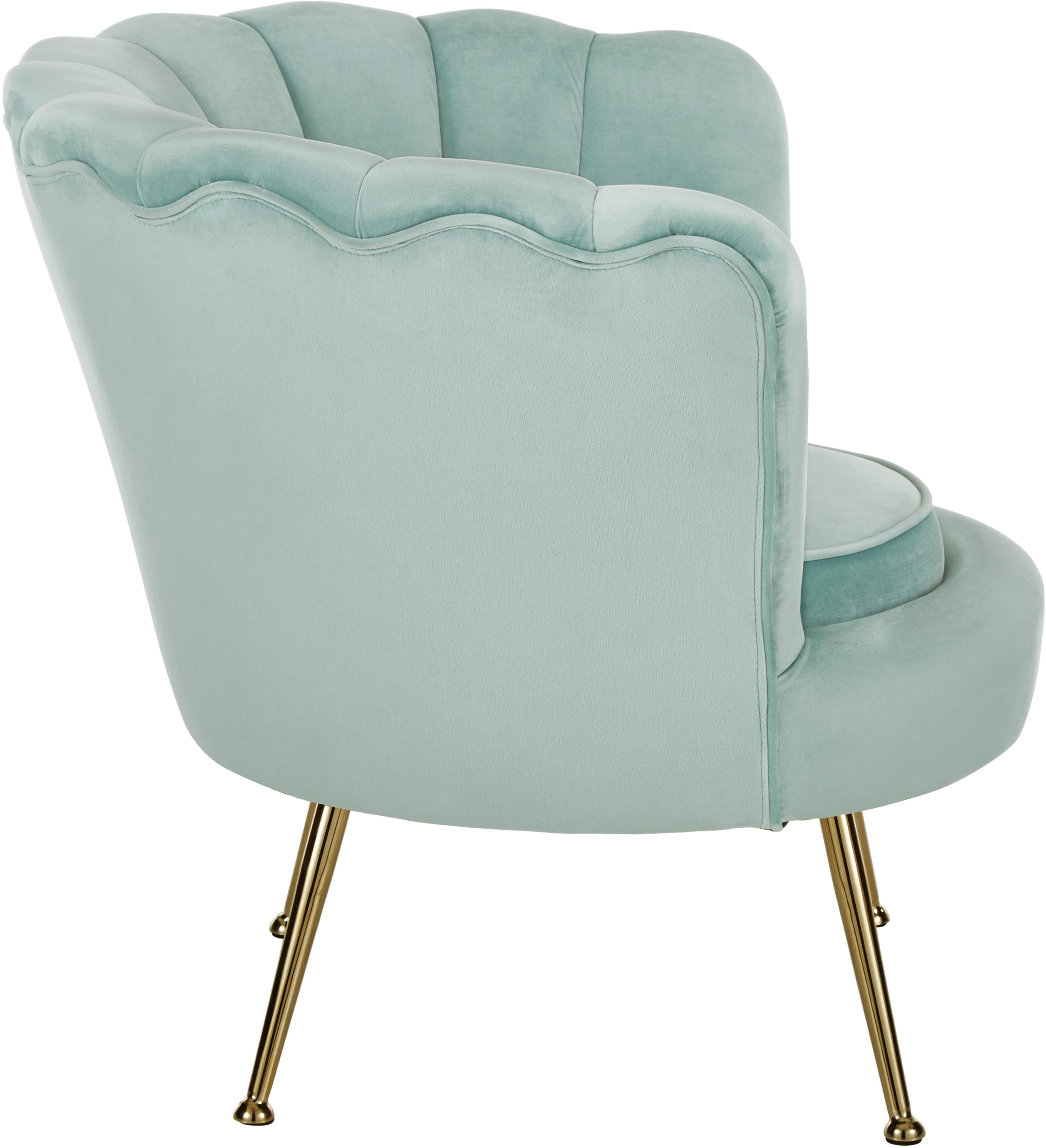 Fauteuil en velours Oyster, Turquoise