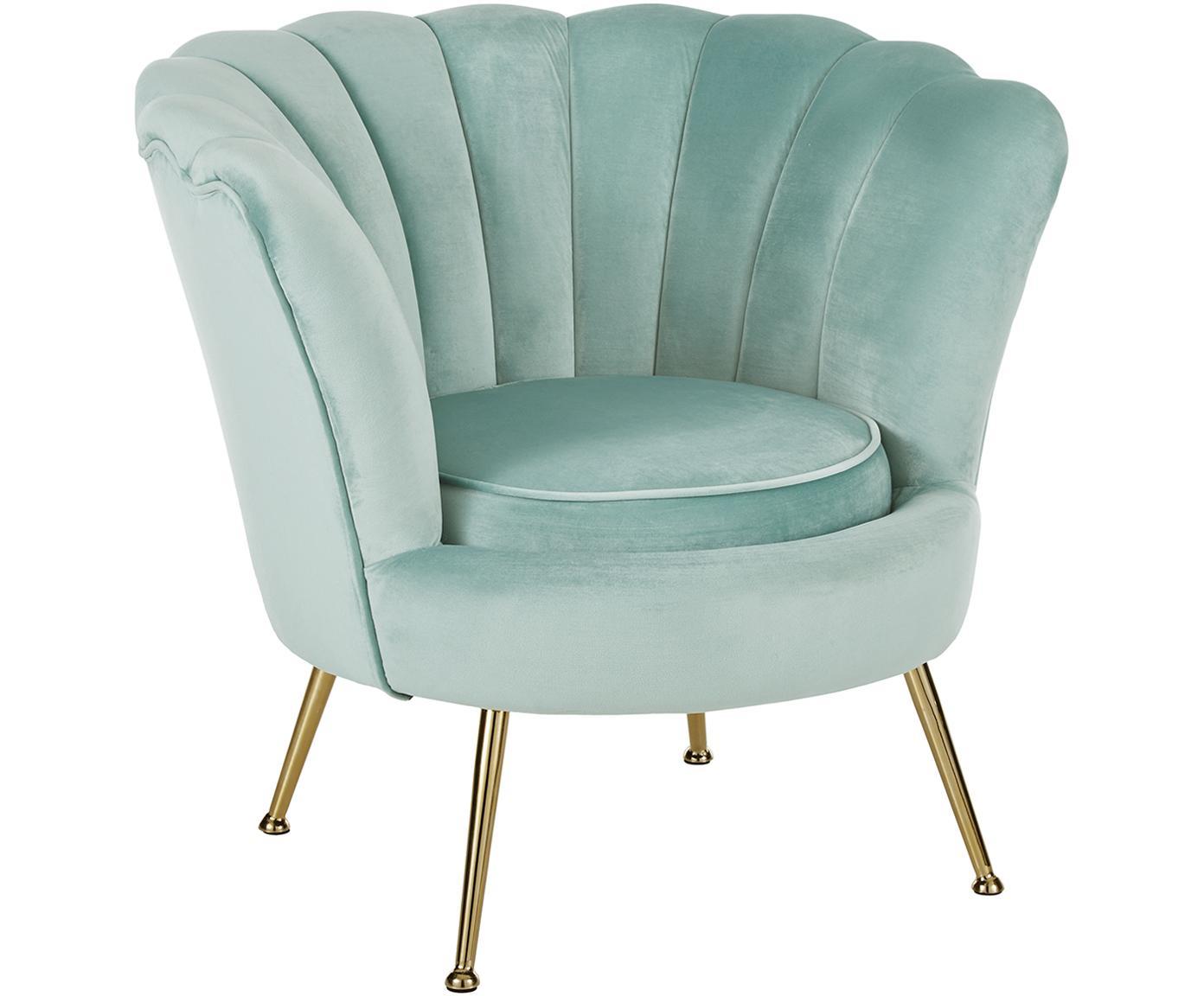 Fluwelen fauteuil Oyster, Bekleding: fluweel (polyester), Frame: massief populierenhout, m, Poten: gegalvaniseerd metaal, Turquoise, B 81 x D 78 cm