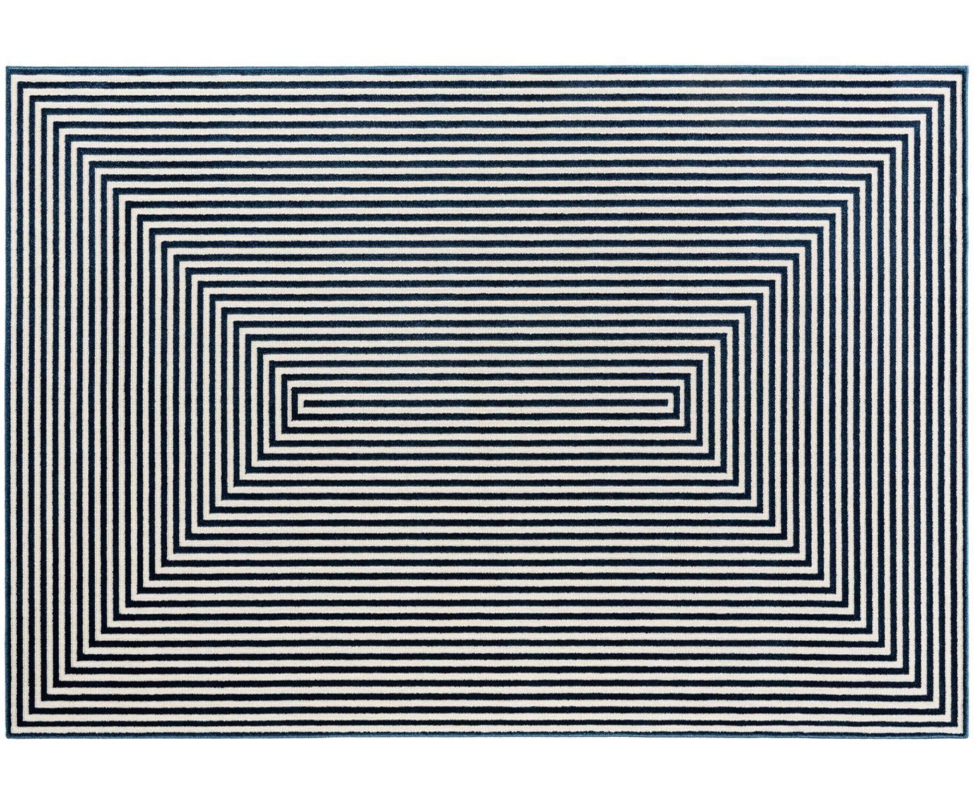Teppich Diamond mit Hoch-Tief-Effekt in Blau-Creme, Flor: Polypropylen, Dunkelblau, Cremefarben, B 140 x L 200 cm (Größe S)