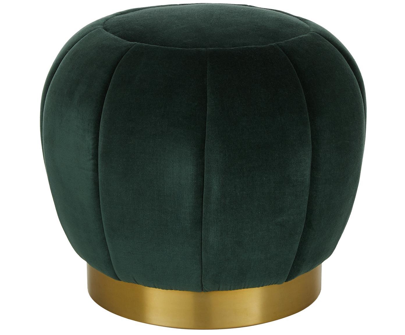 Pouf in velluto Hailee, Rivestimento: velluto, Rivestimento: verde scuro Base: dorato lucido, Ø 50 x Alt. 45 cm