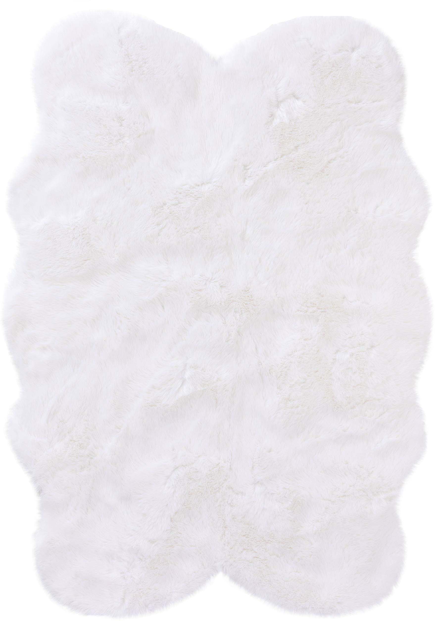 Kunstfell-Teppich Elmo, glatt, Flor: 50% Acryl, 50% Polyester, Weiß, B 140 x L 200 cm (Größe S)