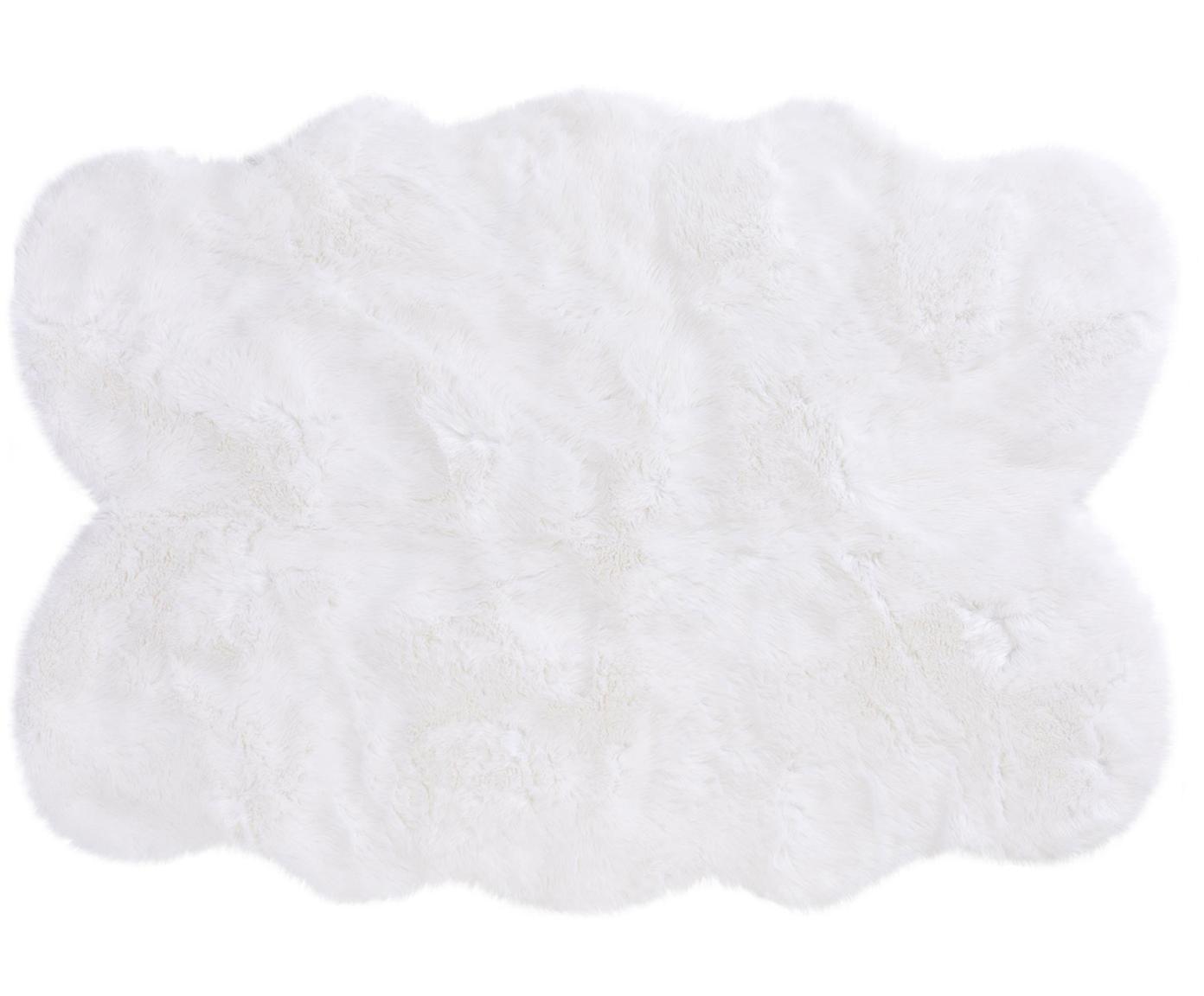 Imitatie schapenvacht Elmo, glad, Bovenzijde: 50% acryl, 50% polyester, Onderzijde: polyester, Wit, B 140 x L 200 cm (maat S)