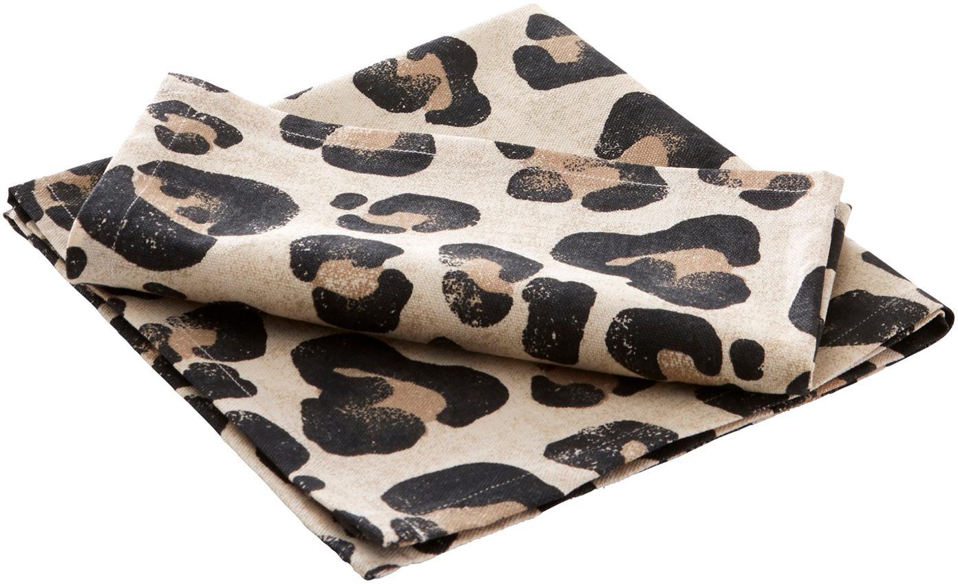Tovagliolo in cotone con stampa leopardata Jill 2 pz, Cotone, Beige, nero, Larg. 45 x Lung. 45 cm