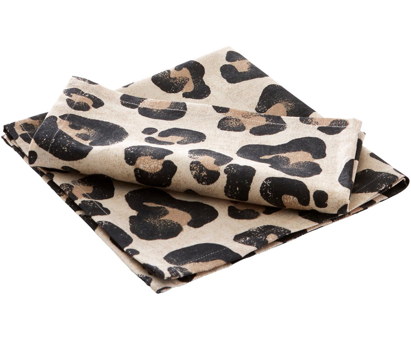 Katoenen servetten Jill met luipaarden-print, 2 stuks, Katoen, Beige, zwart, 45 x 45 cm
