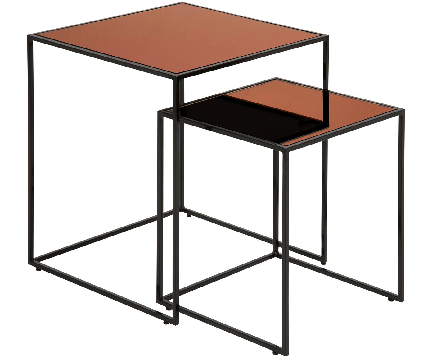 Komplet stolików pomocniczych Bolton, 2 elem., Stelaż: stal malowana proszkowo, Blat: szkło hartowane, powlekan, Czarny, odcienie miedzianego, Różne rozmiary