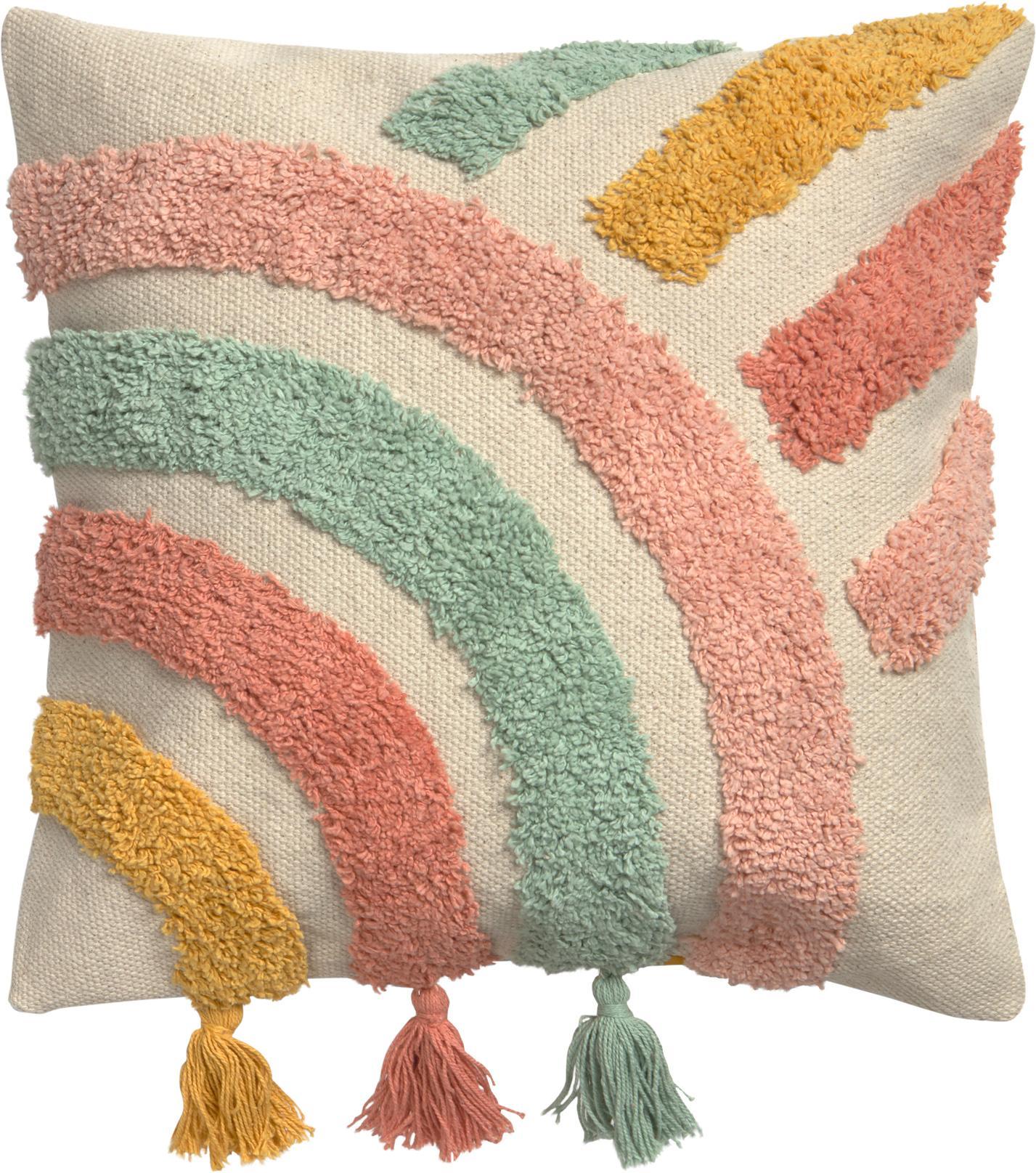 Kussenhoes Arco met kleurrijk structuurpatroon en kwastjes, 100% katoen, Beige, multicolour, 45 x 45 cm