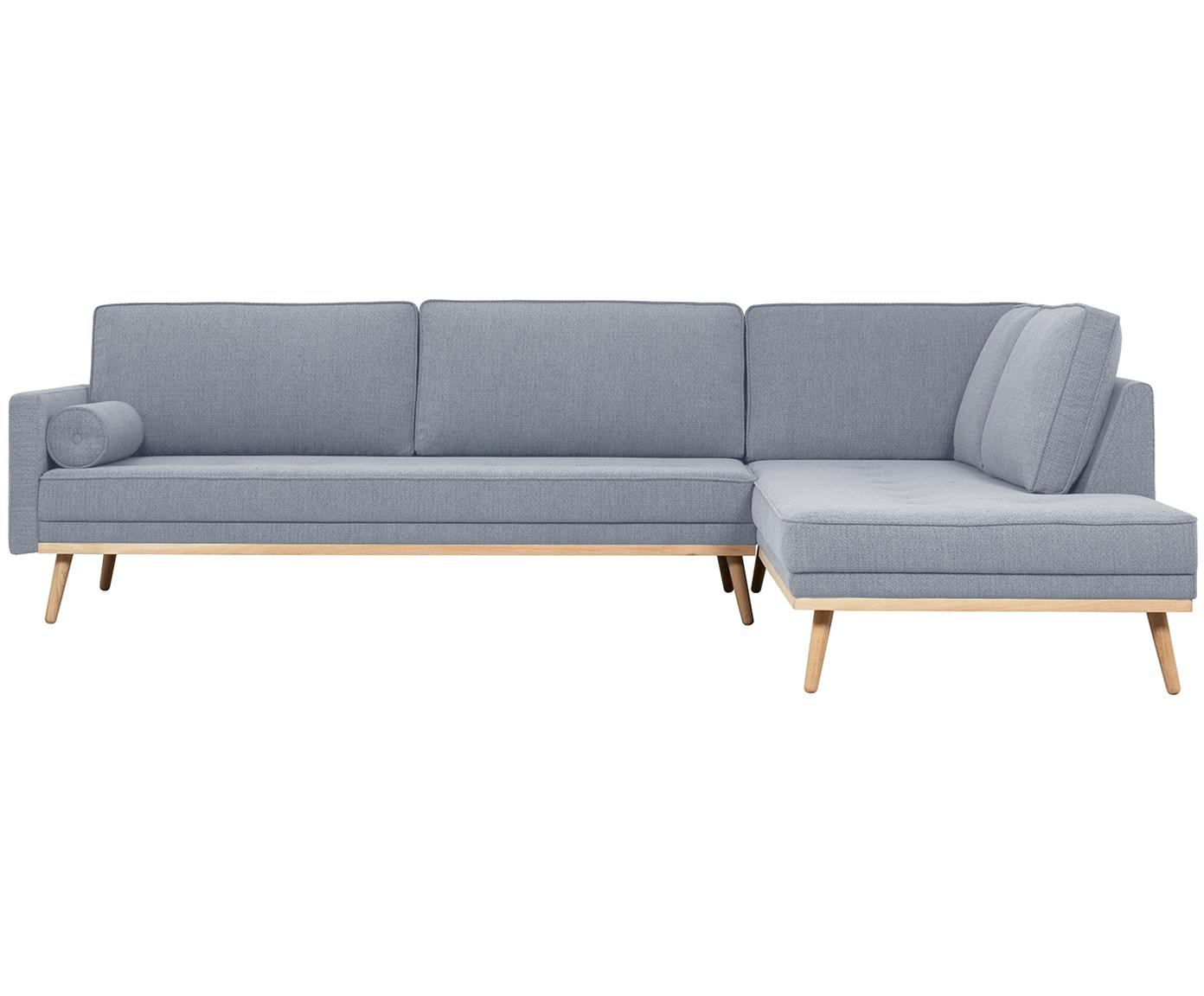 Ecksofa Saint (4-Sitzer), Bezug: Polyester 50.000 Scheuert, Gestell: Massives Kiefernholz, Spa, Blaugrau, 294 x 70 cm
