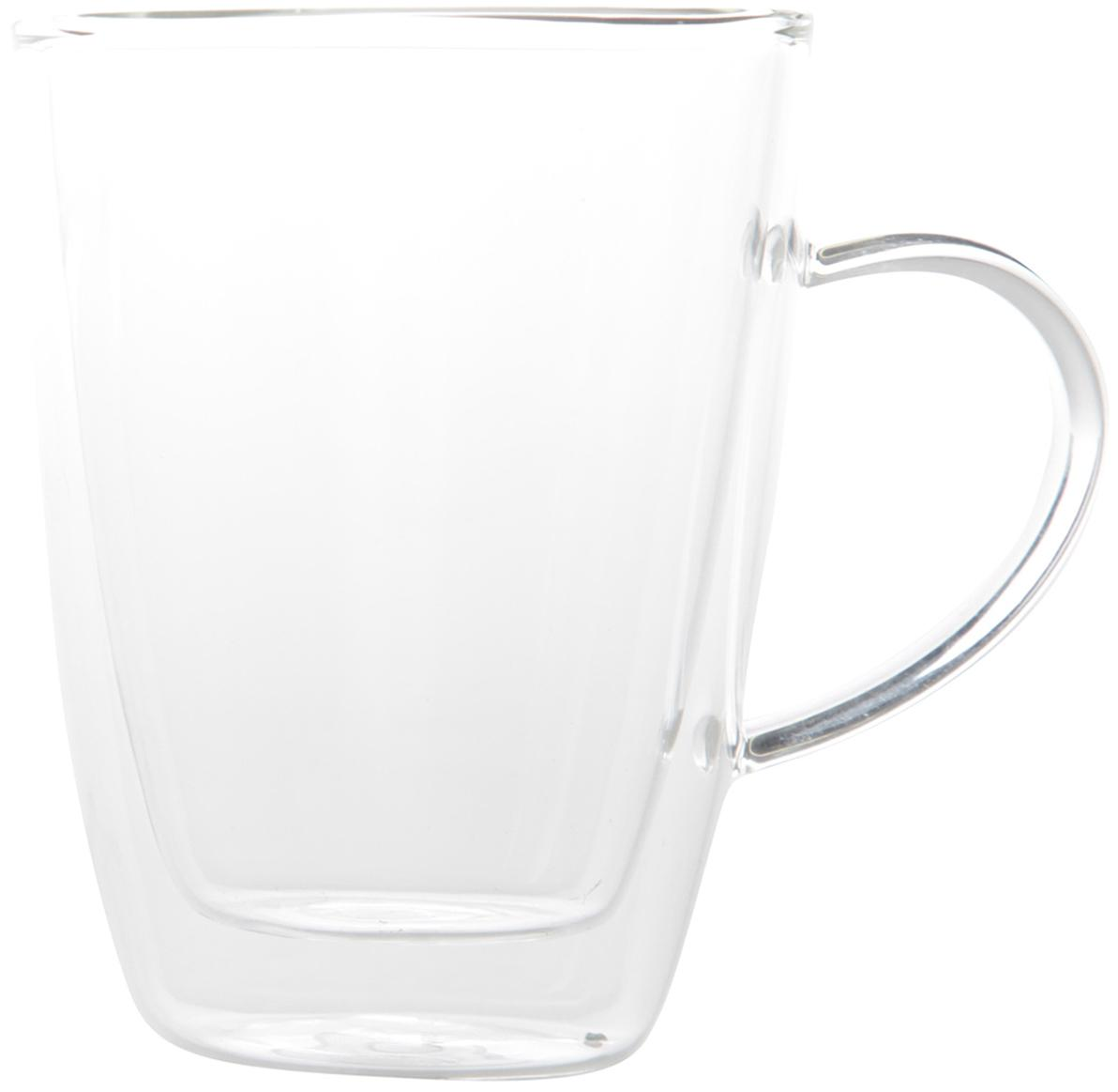 Bicchieri da tè a doppia parete Isolate, 2 pz., Vetro borosilicato, Trasparente, Ø 9 x Alt. 12 cm
