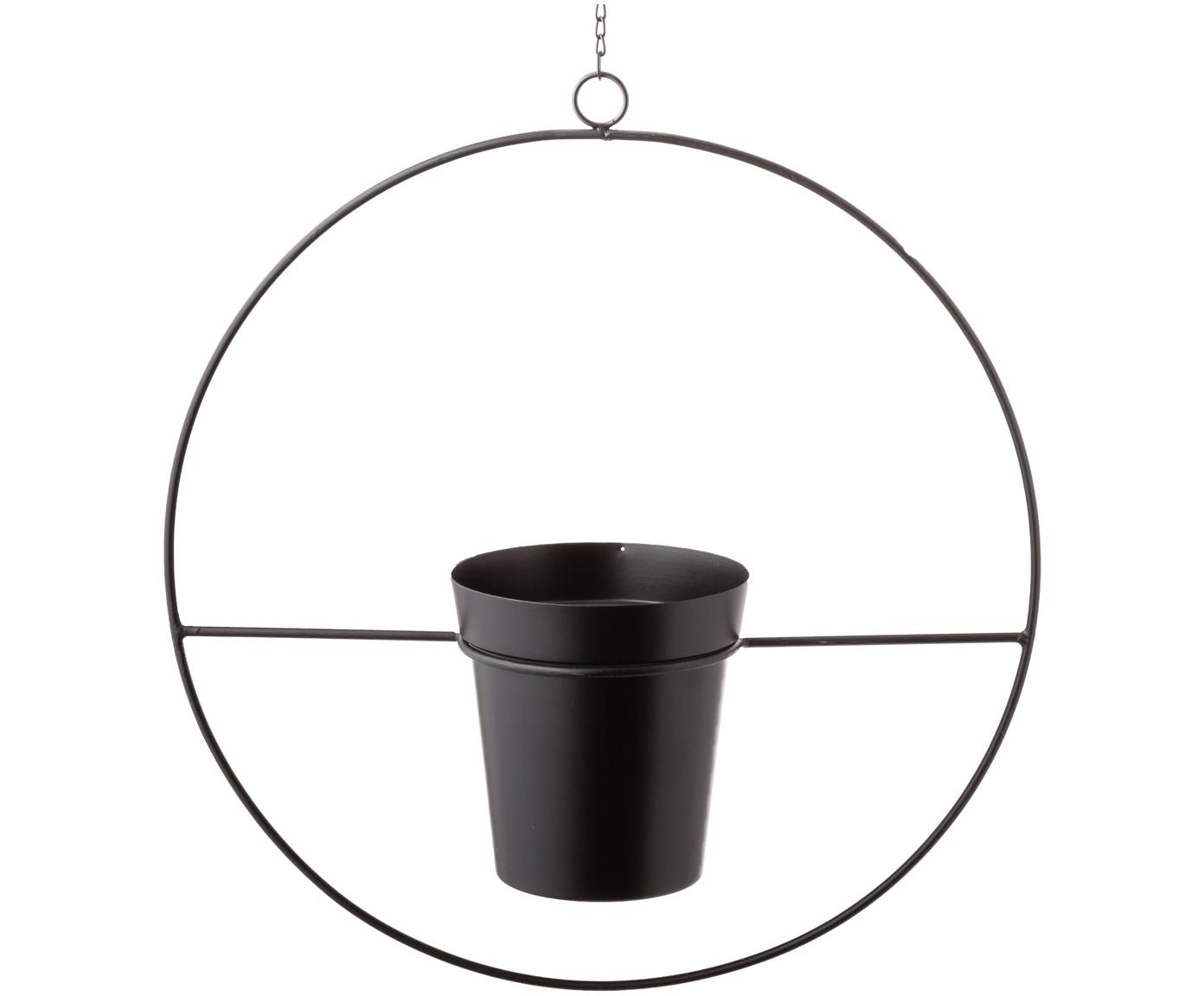 Hangende plantenpot Undine, Gelakt metaal, Zwart, 40 x 43 cm