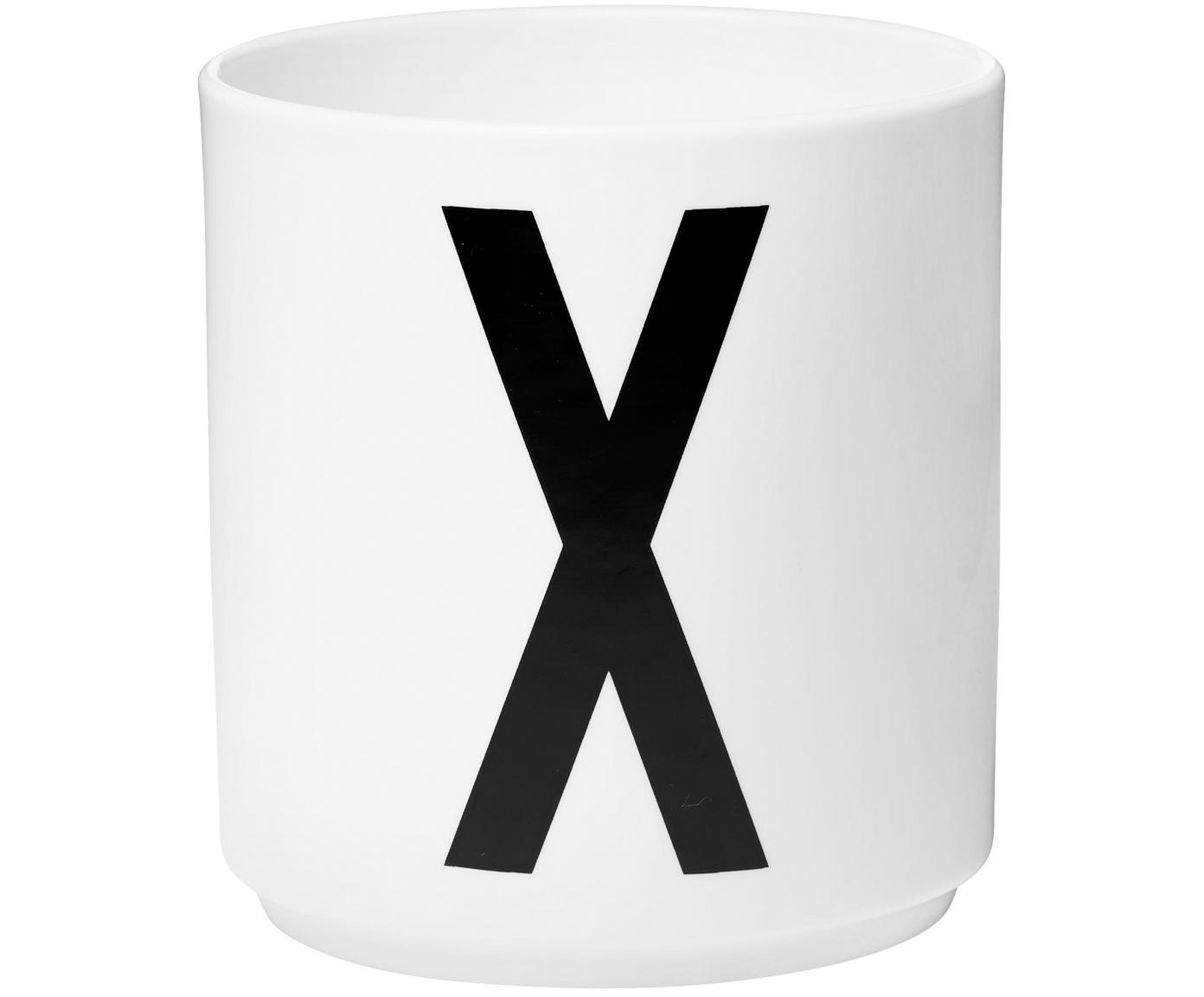 Design Becher Personal mit Buchstaben (Varianten von A bis Z), Fine Bone China (Porzellan), Weiß, Schwarz, Becher X