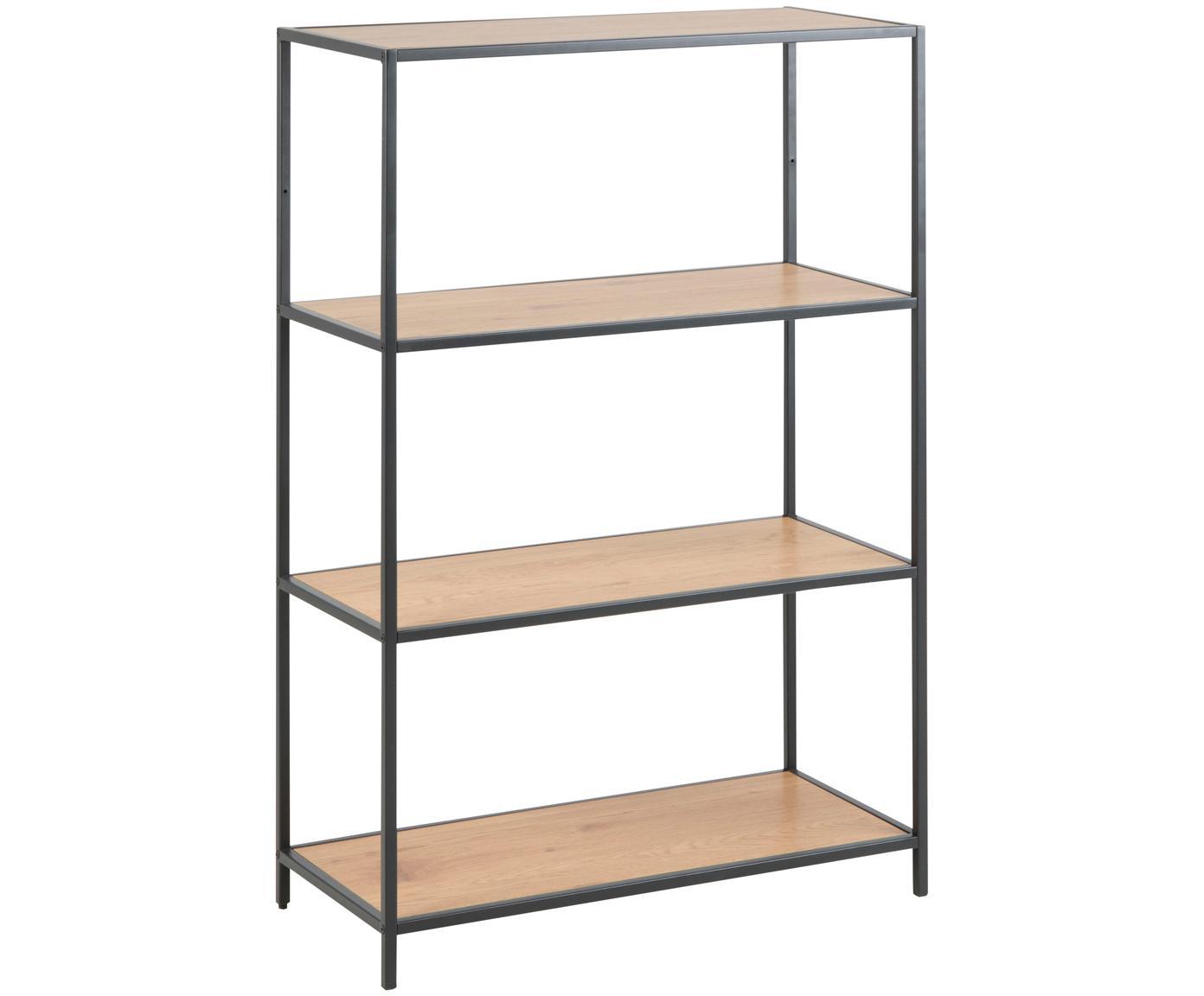Wandrek Seaford van hout en metaal, Frame: gepoedercoat metaal, Planken: eikenhoutkleurig. Frame: zwart, 77 x 114 cm