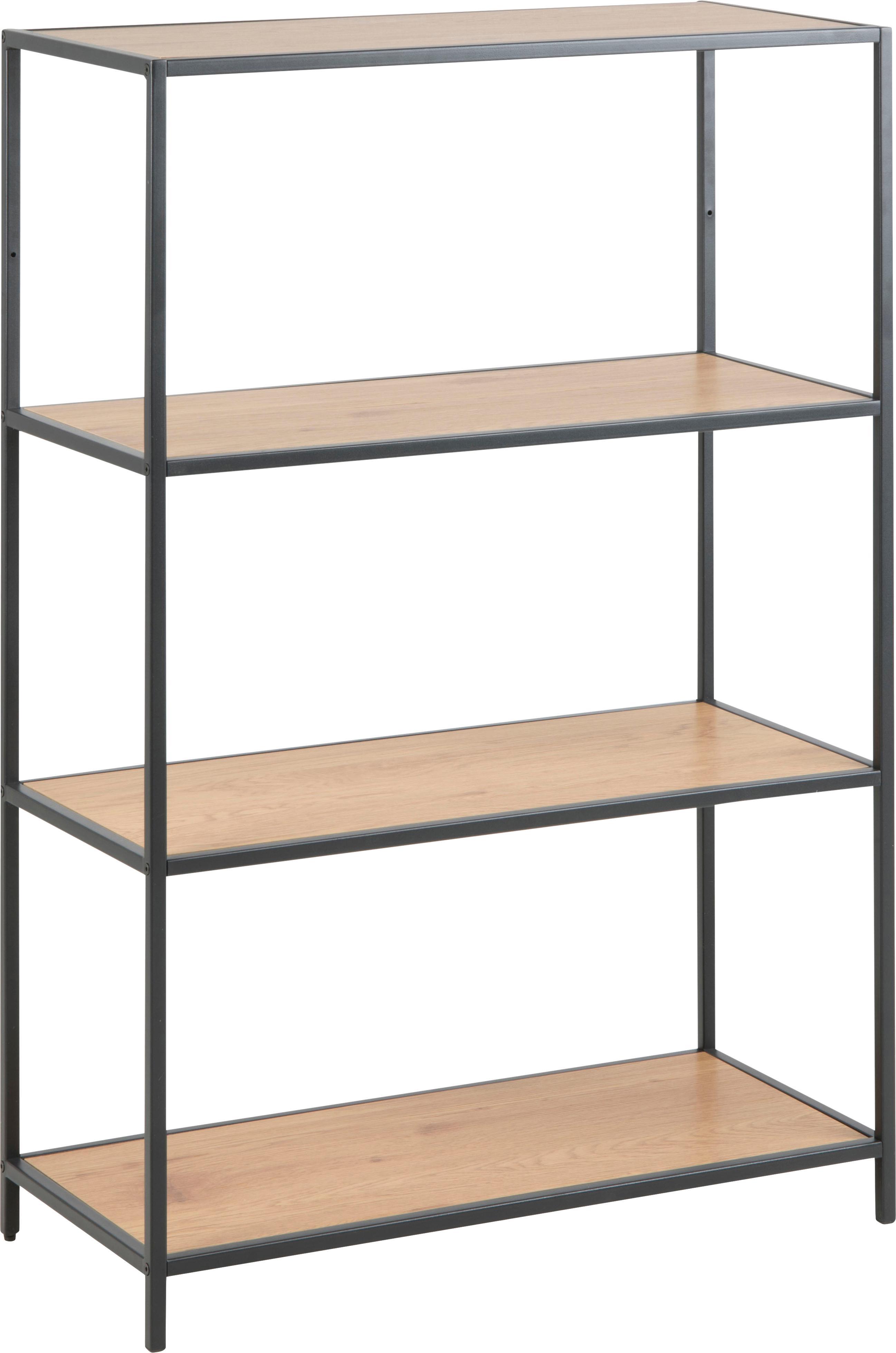 Estantería de metal Seaford, Estantes: tablero de fibras de dens, Estructura: metal, pintura en polvo, Estantes: roble Estructura: negro, An 77 x Al 114 cm