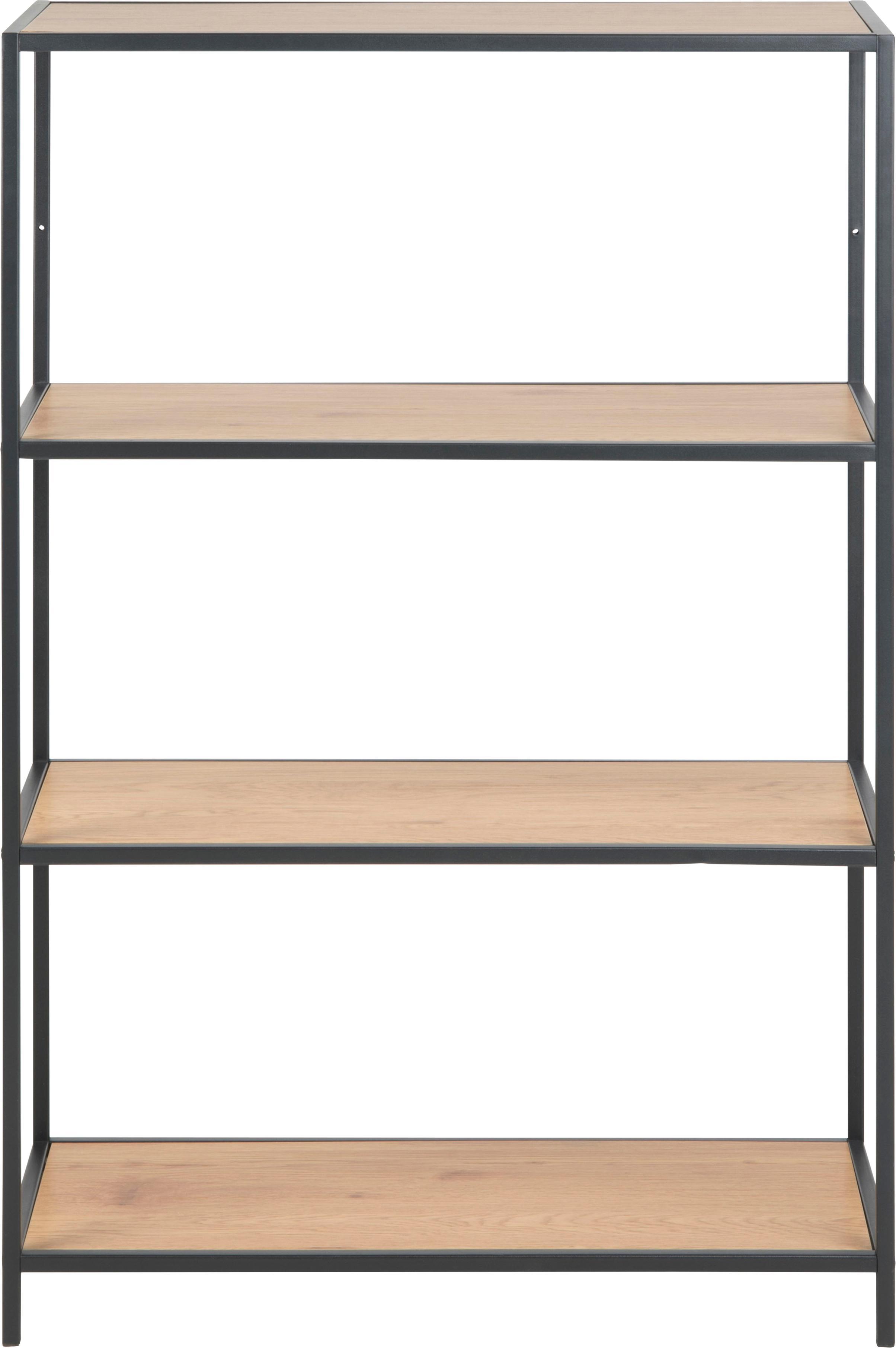 Standregal Seaford aus Holz und Metall, Einlegeböden: Mitteldichte Holzfaserpla, Gestell: Metall, pulverbeschichtet, Einlegeböden: Wildeiche Gestell: Schwarz, 77 x 114 cm
