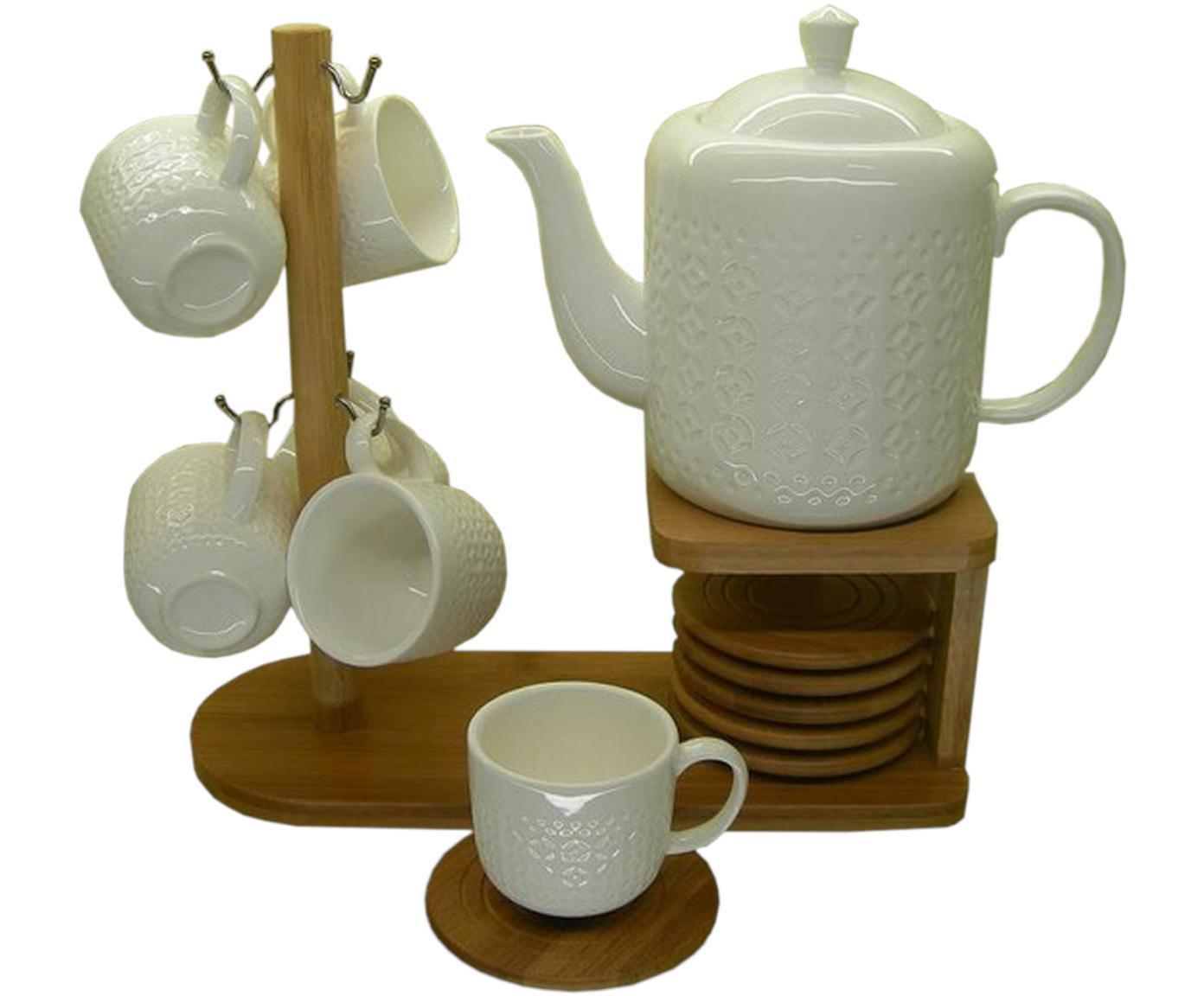 Set de café Abraham, 14pzas., Estructura: bambú, Blanco, beige, Set de diferentes tamaños