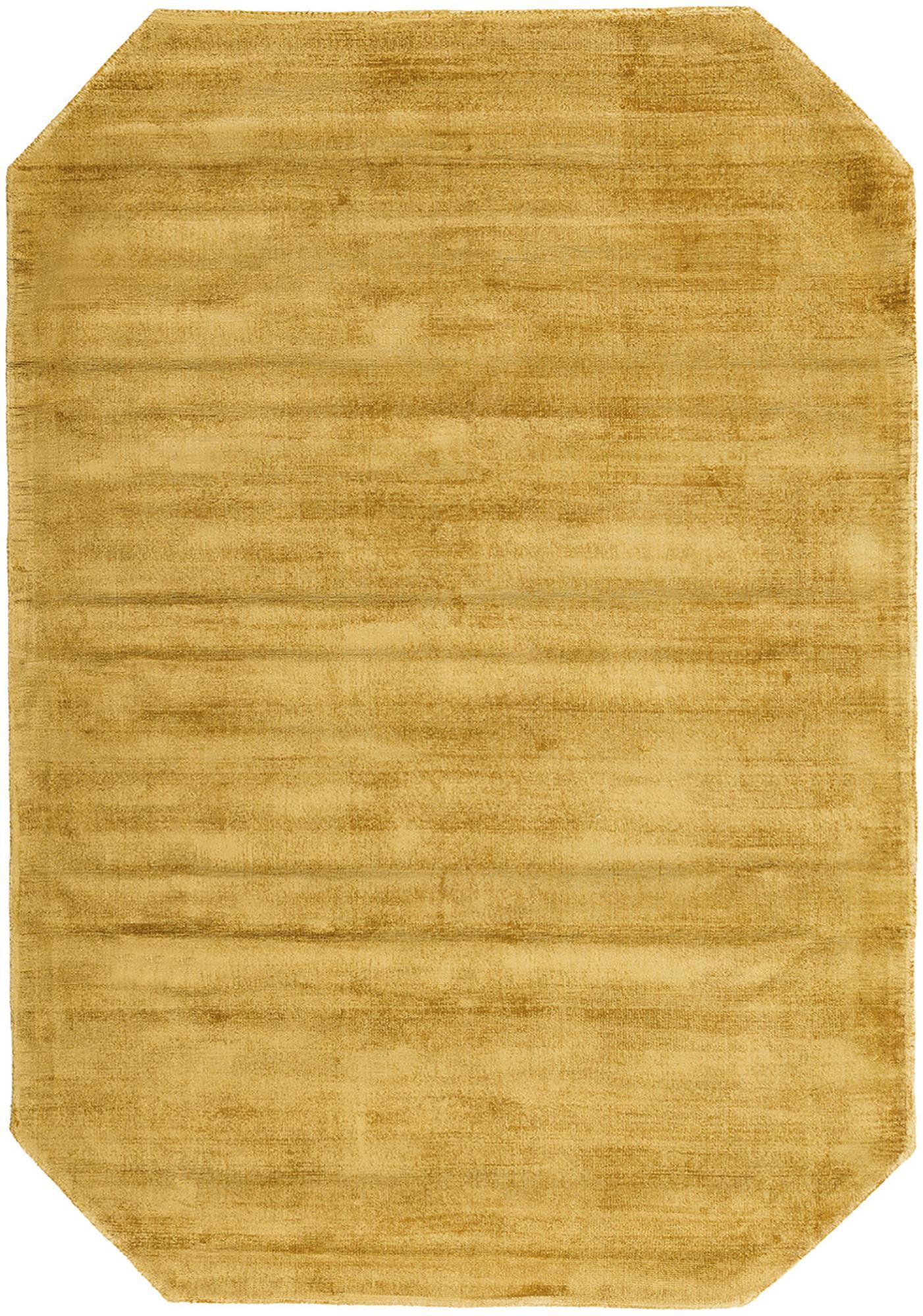 Viscose vloerkleed Jane Diamond, Bovenzijde: 100% viscose, Onderzijde: 100% katoen, Mosterdgeel, 120 x 180 cm