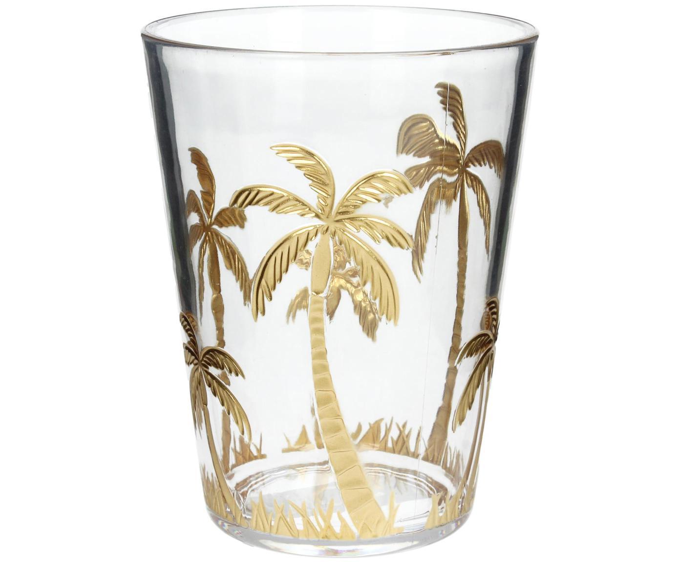Acryl-Wasserglas Kimberly, Acryl, Transparent, Goldfarben, Ø 9 x H 12 cm