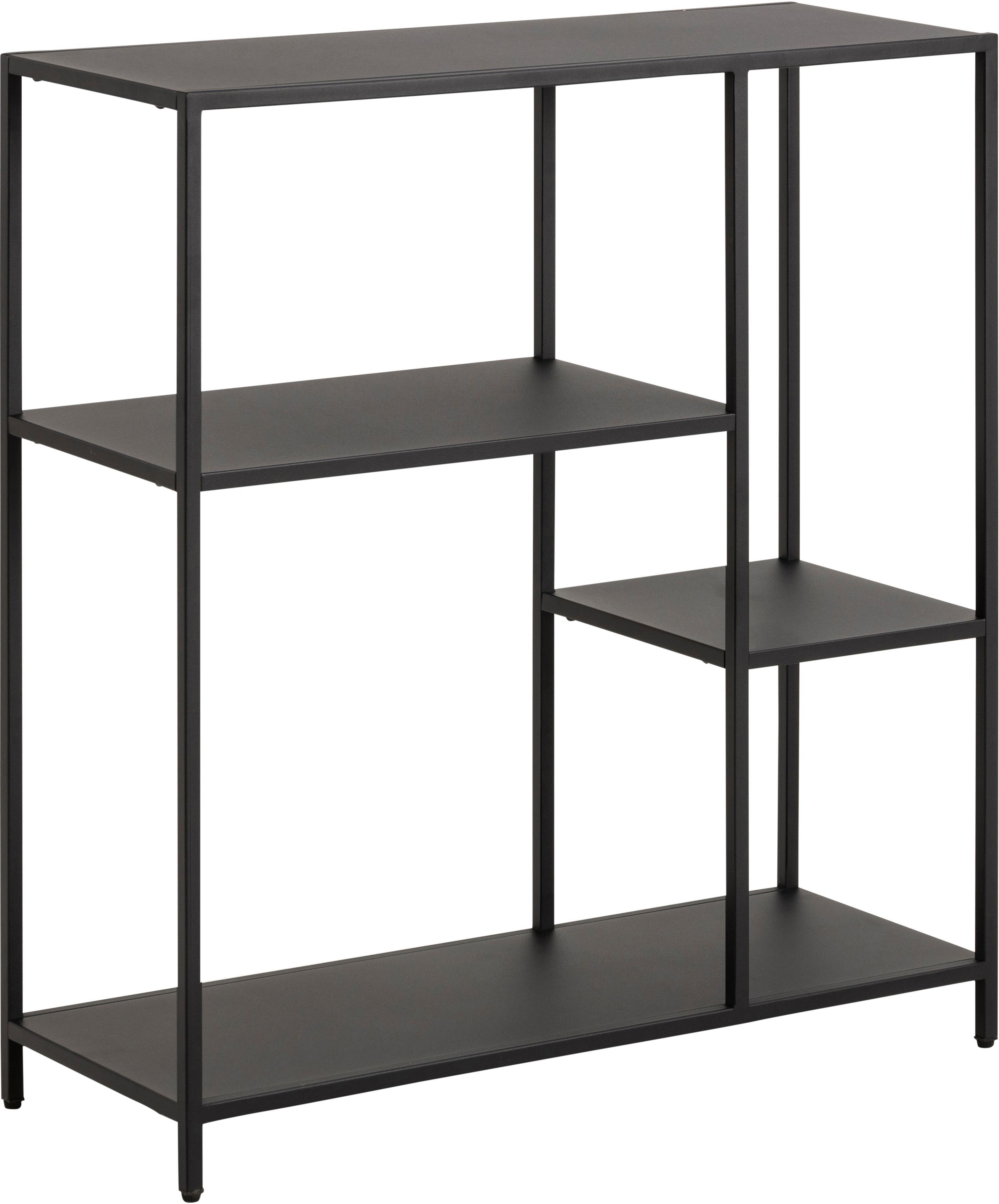 Zwarte metalen stellingkast Newton, Gepoedercoat metaal, Zwart, 80 x 80 cm